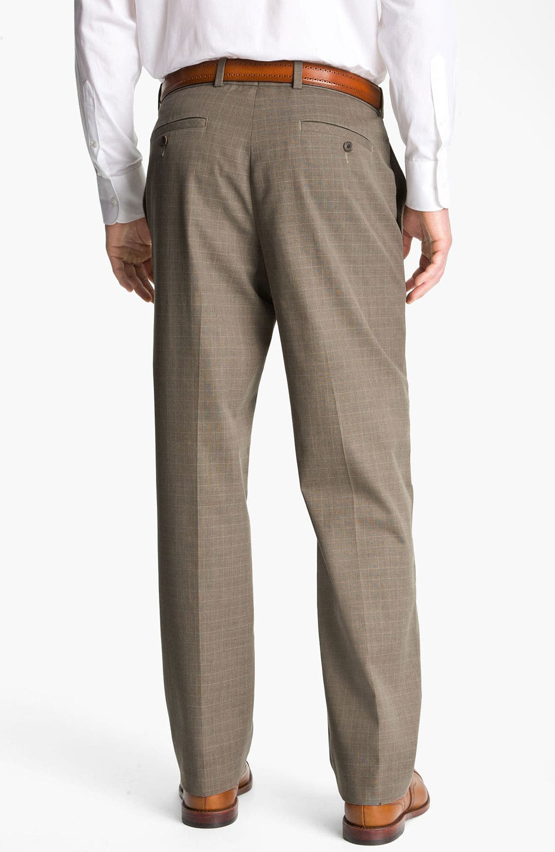 Alternate Image 2  - John W. Nordstrom® Smartcare™ New Flat Front Plaid Supima® Cotton Pants
