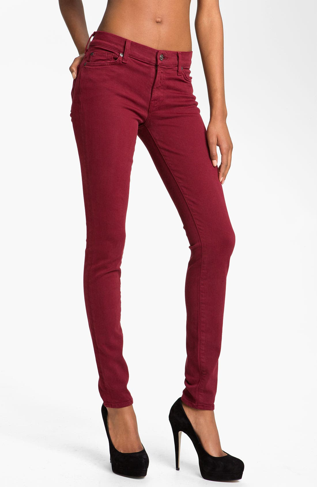 Main Image - 7 For All Mankind® 'Slim Illusion' Overdyed Skinny Stretch Jeans (Port)