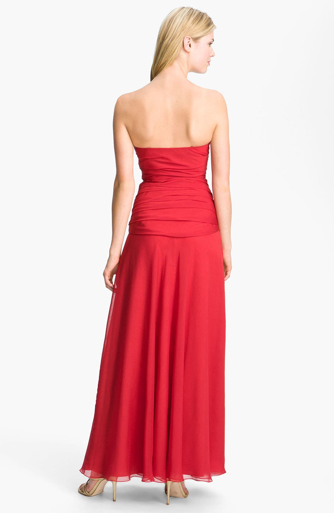 Alternate Image 2  - Dalia MacPhee Pleated Strapless Chiffon Gown (Online Only)