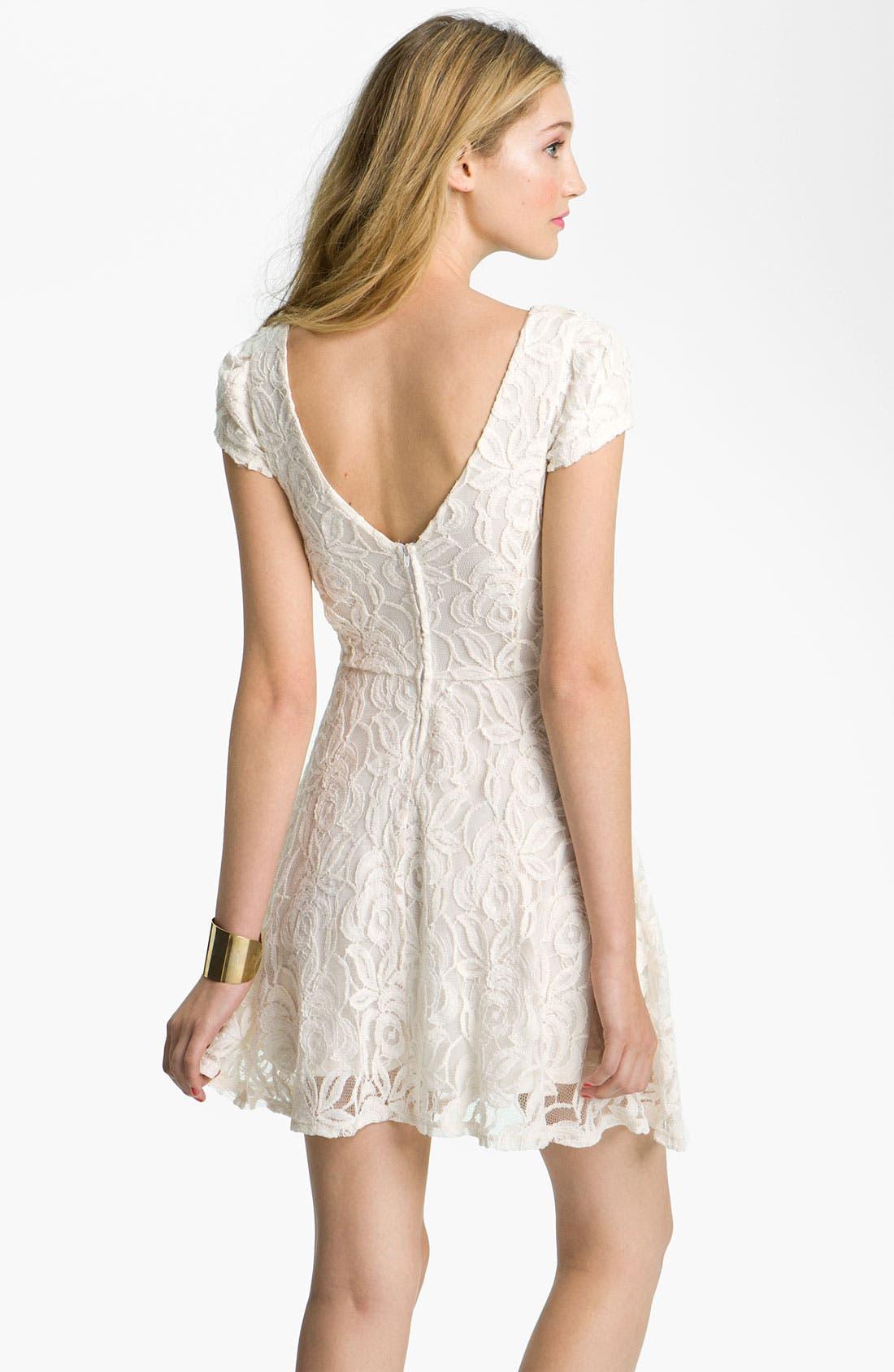 Alternate Image 2  - Fire V-Back Lace Dress (Juniors)