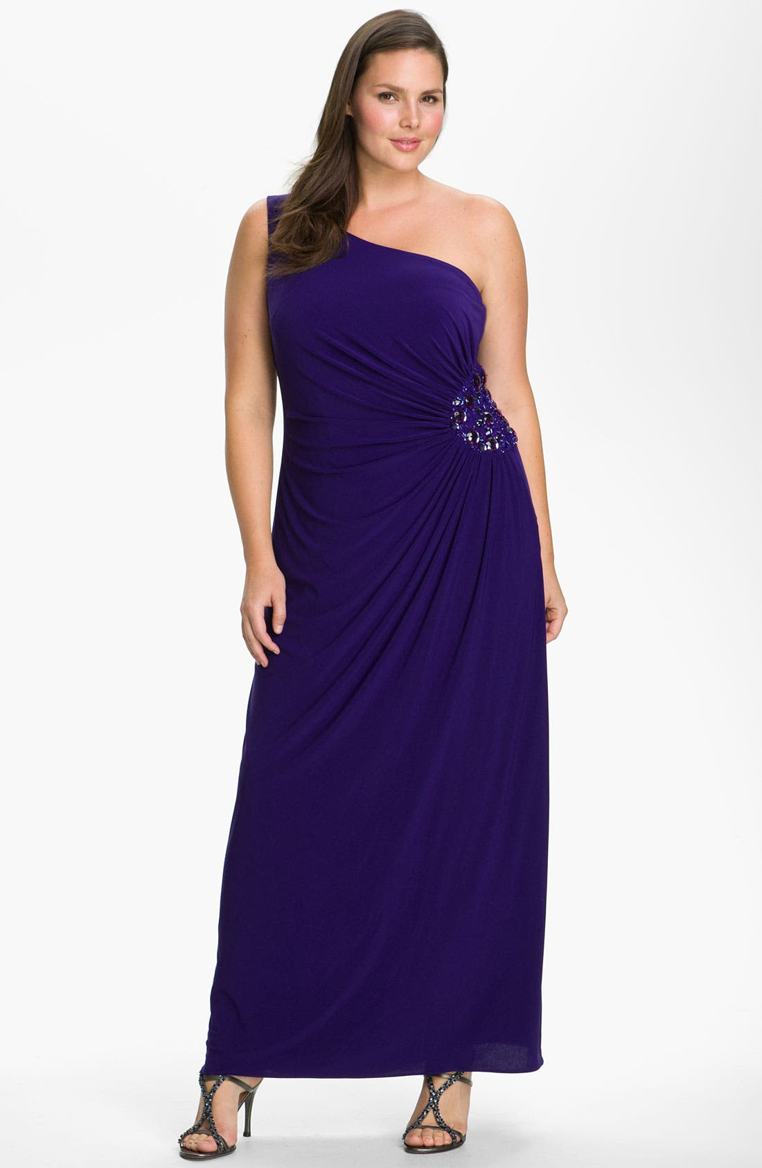 Alternate Image 1 Selected - JS Boutique Beaded One Shoulder Jersey Gown (Plus)