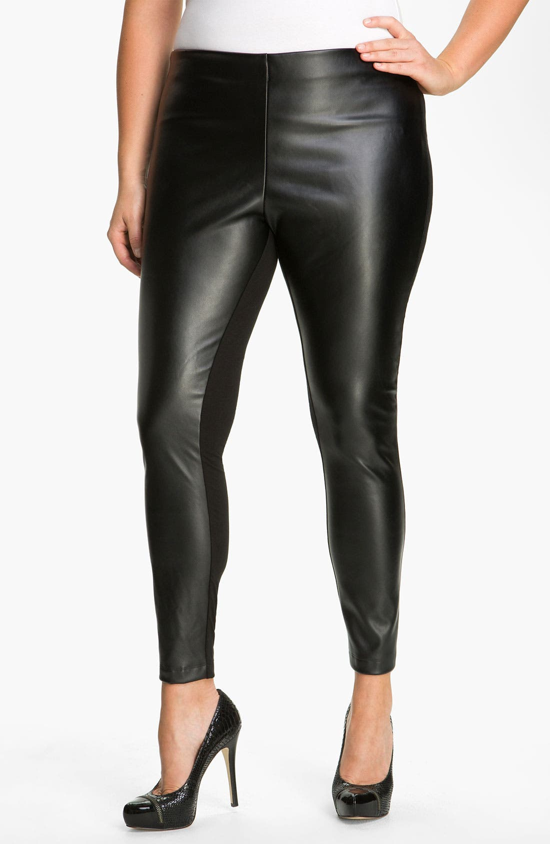 Alternate Image 1 Selected - DKNYC Knit & Faux Leather Leggings (Plus)