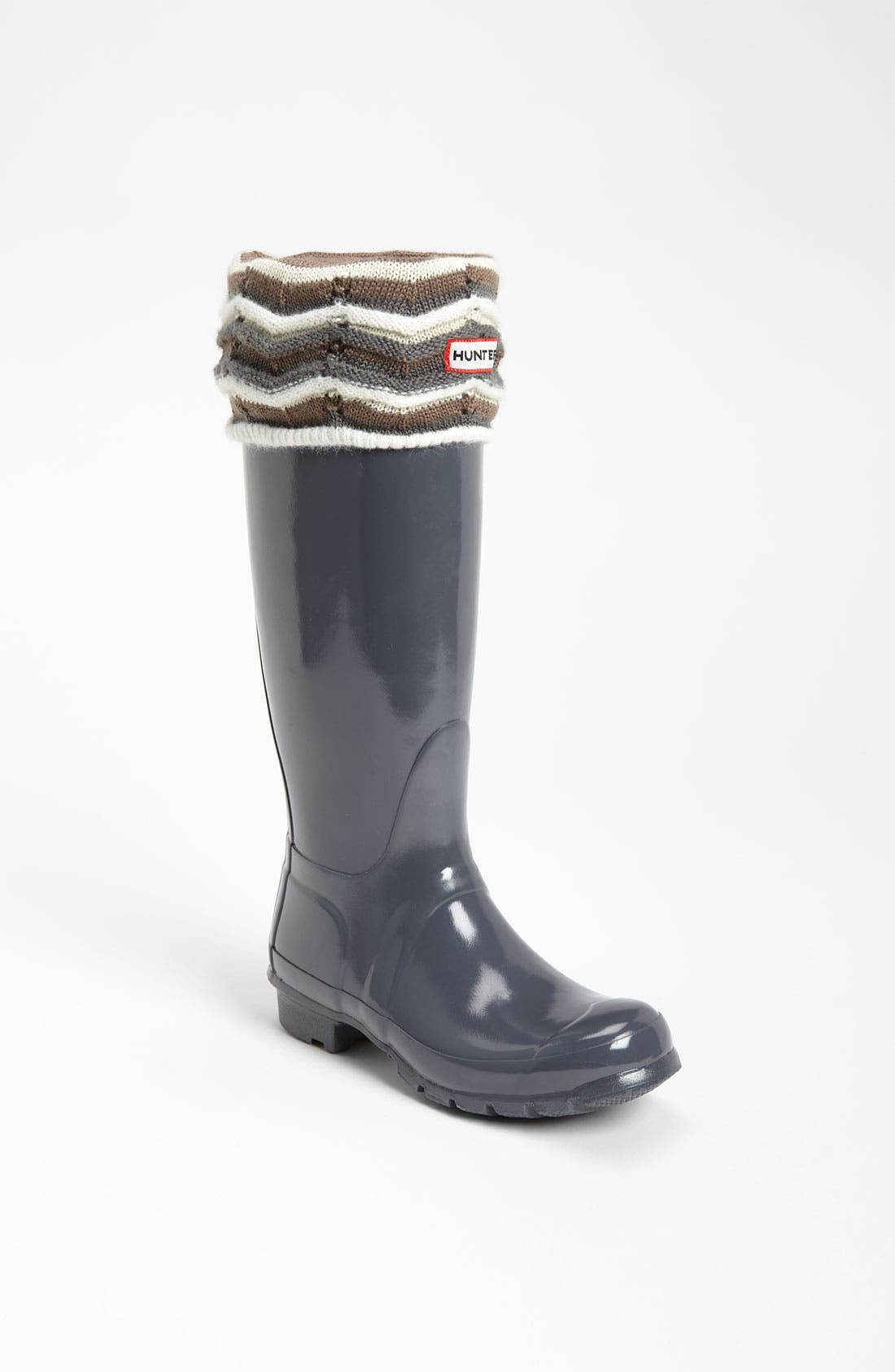 Alternate Image 1 Selected - Hunter Tall Gloss Rain Boot & Zigzag Cuff Welly Socks
