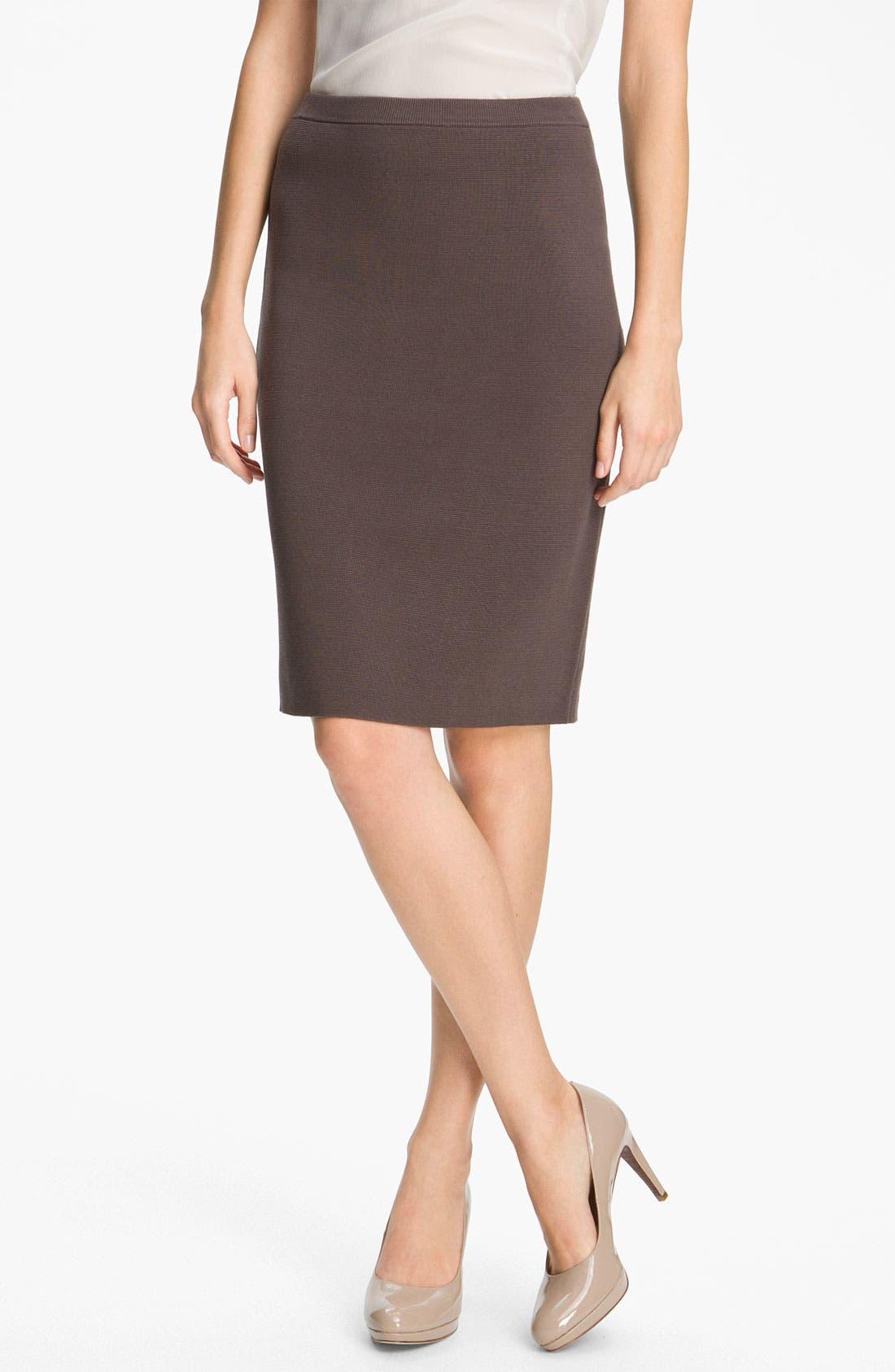 Main Image - Eileen Fisher Silk Blend Knit Straight Skirt