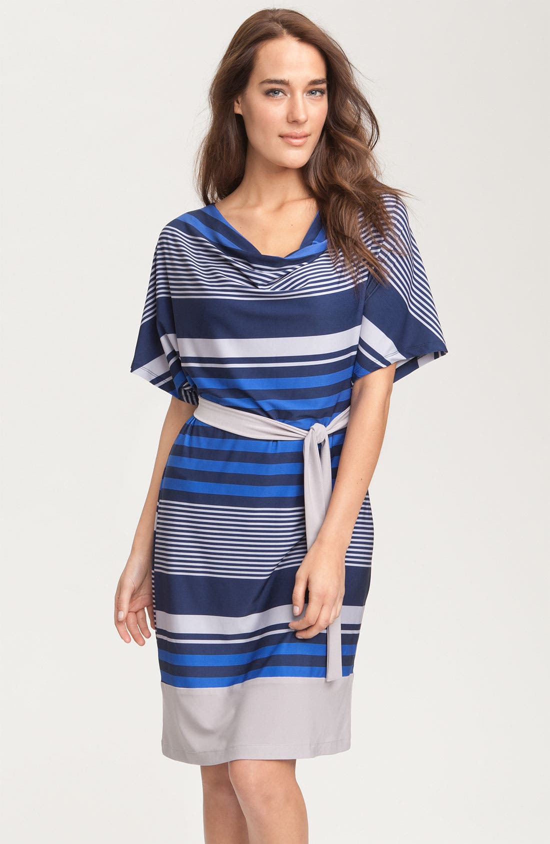 Alternate Image 1 Selected - Alex & Ava Stripe Cowl Neck Jersey Dress (Petite)