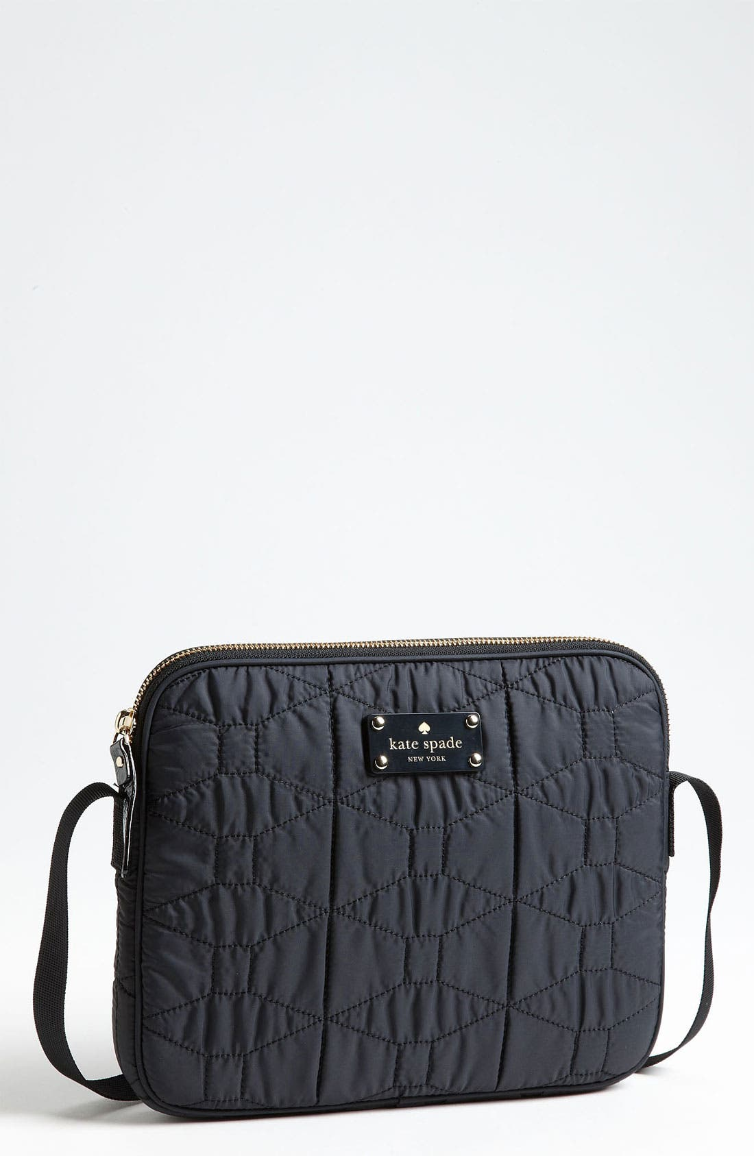 Alternate Image 1 Selected - kate spade new york 'signature spade - quilted bryce' iPad 2 & 3 crossbody bag