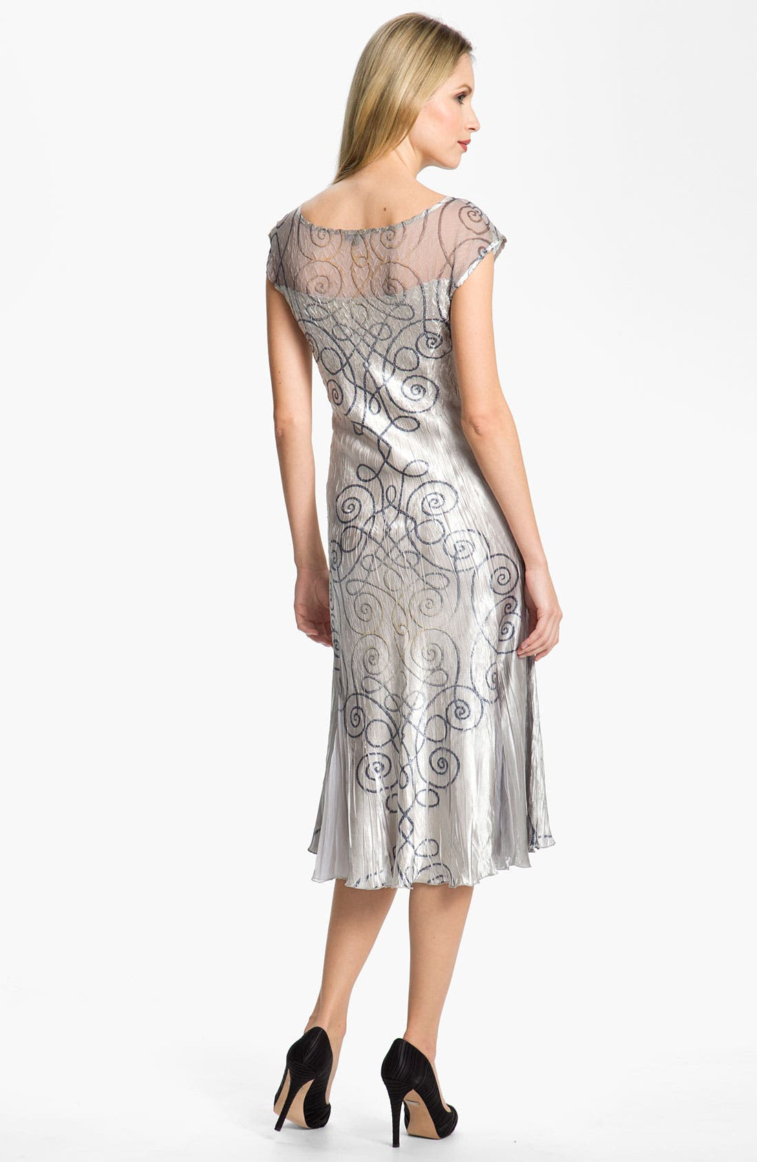 Alternate Image 3  - Komarov Swirl Print Textured Charmeuse Dress