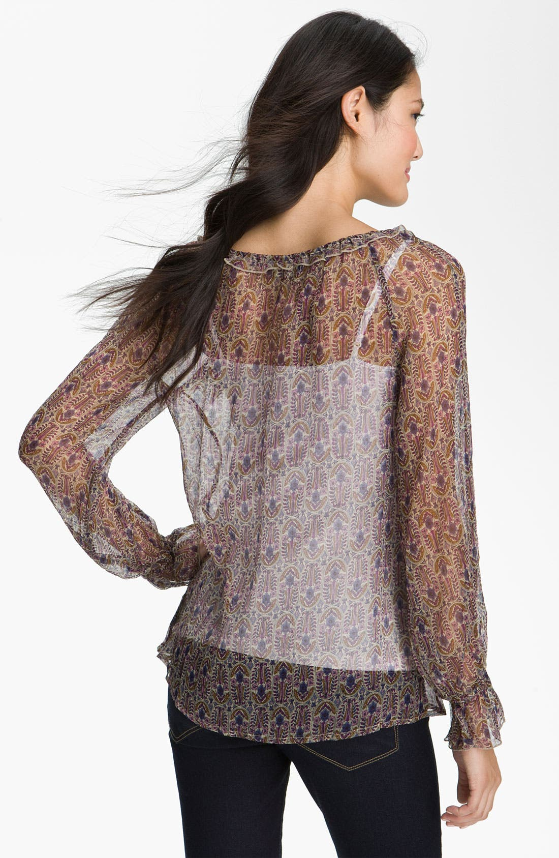 Alternate Image 2  - Lucky Brand 'Stevie - Vintage Bouquet' Sheer Top