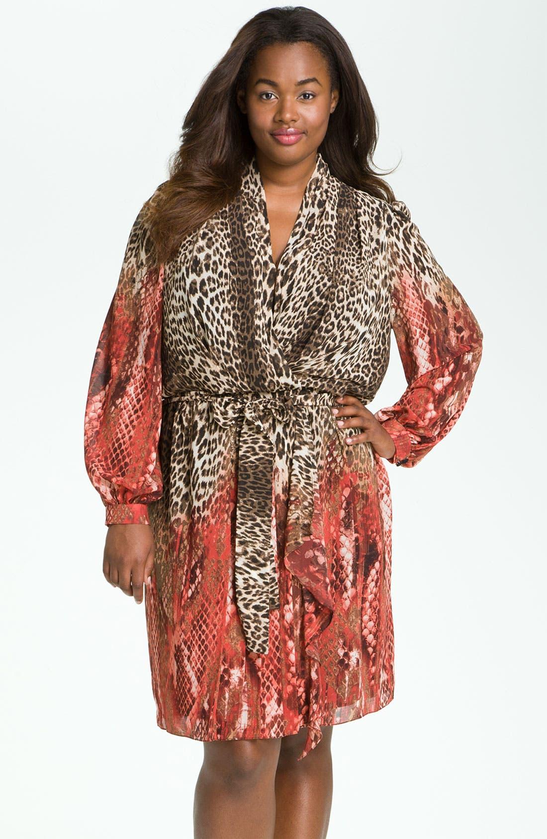 Main Image - Donna Ricco Animal Print Surplice Chiffon Dress (Plus Size)