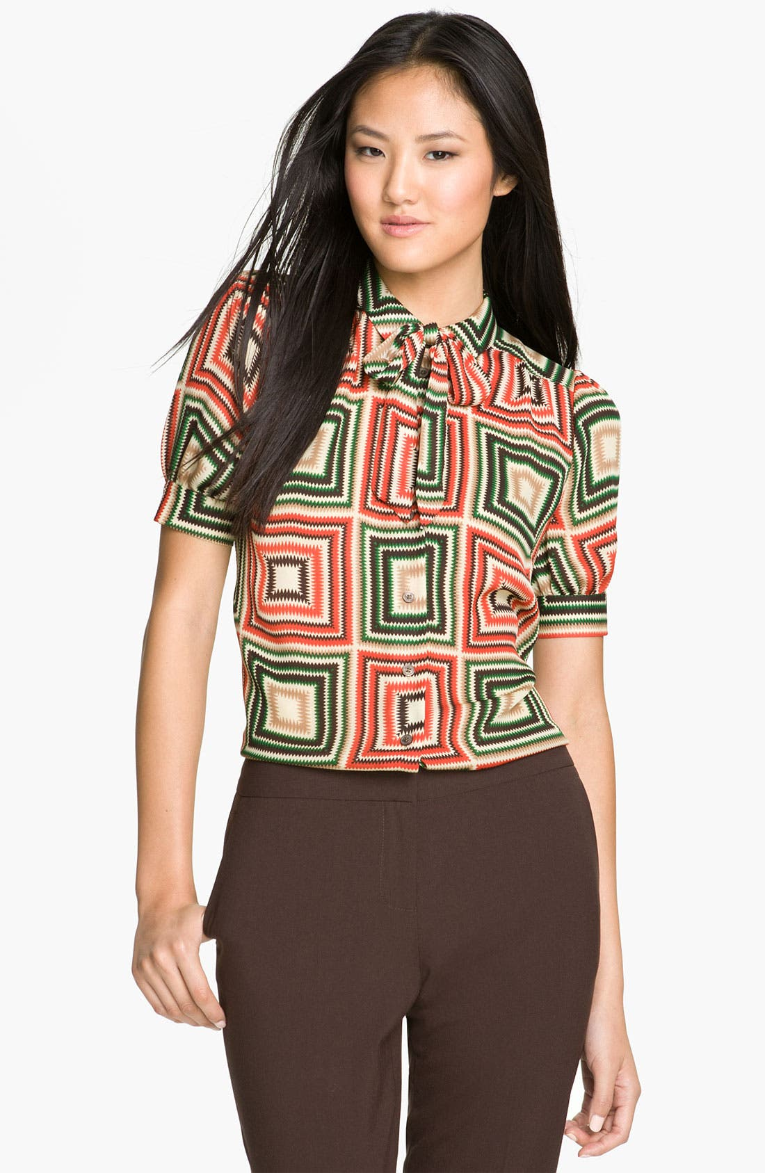 Alternate Image 1 Selected - Vince Camuto Print Tie Neck Top