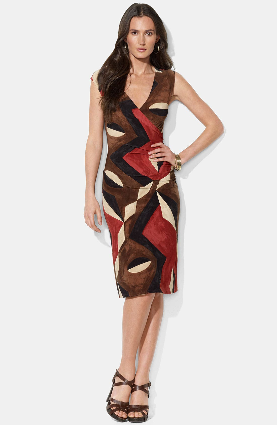 Main Image - Lauren Ralph Lauren Faux Wrap Print Jersey Dress