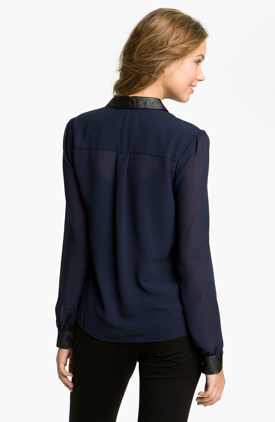 Alternate Image 2  - Chloe K Faux Leather Trim Shirt (Juniors)
