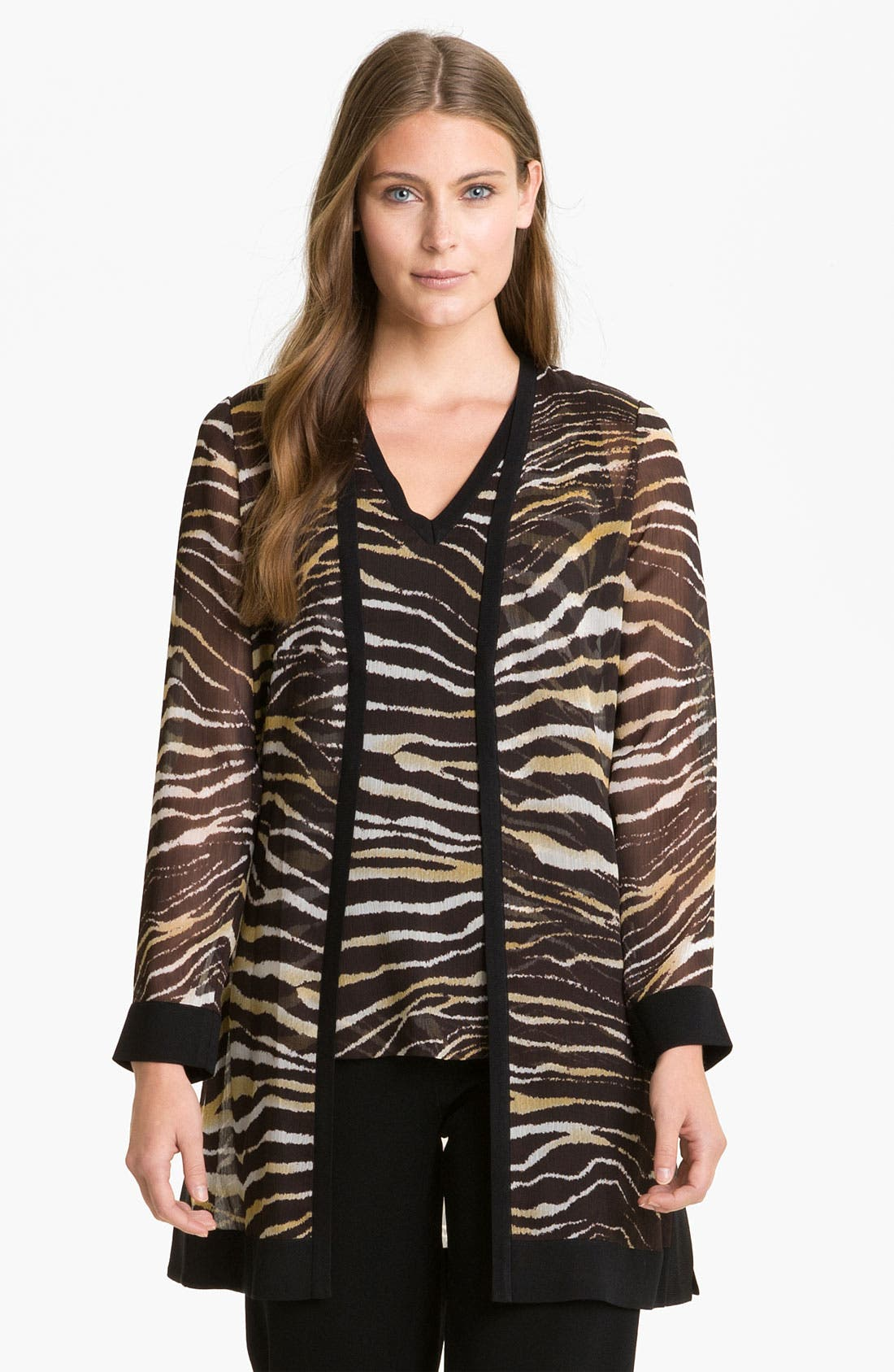 Alternate Image 1 Selected - Exclusively Misook Zebra Print Duster