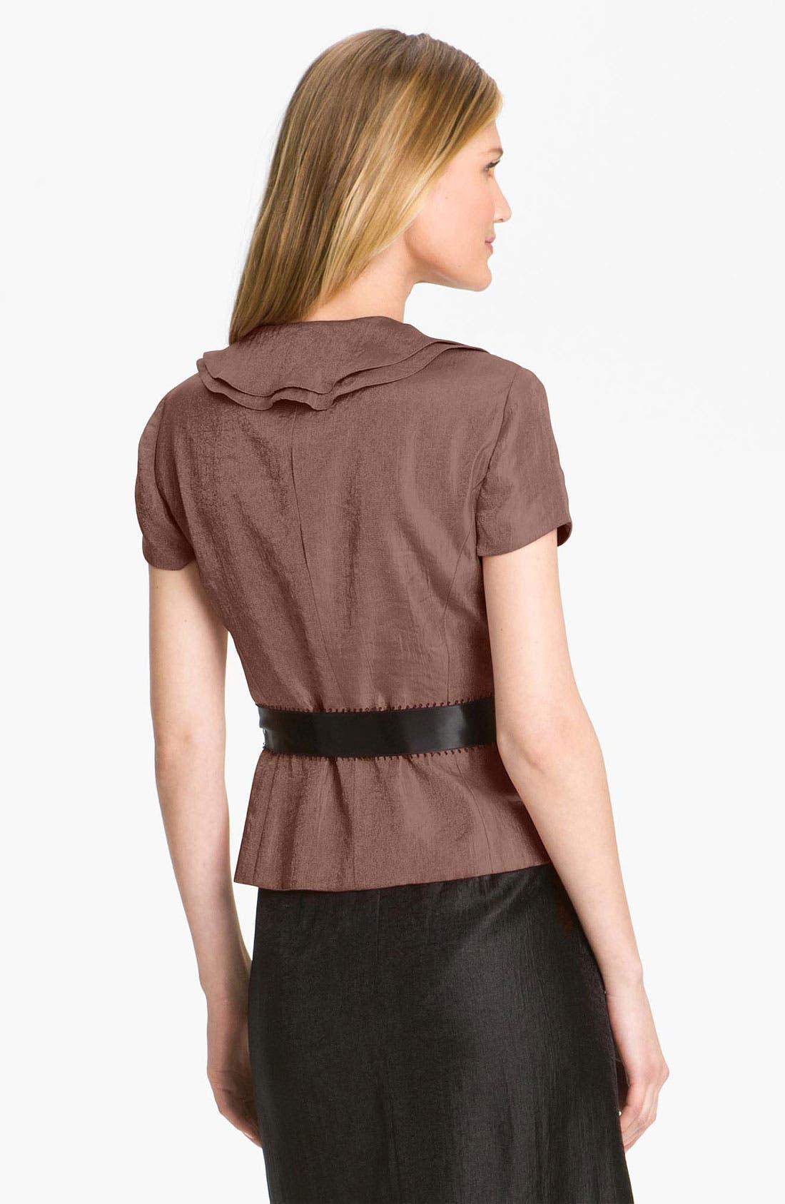 Alternate Image 2  - Adrianna Papell Ruffle Lapel Shimmer Satin Jacket