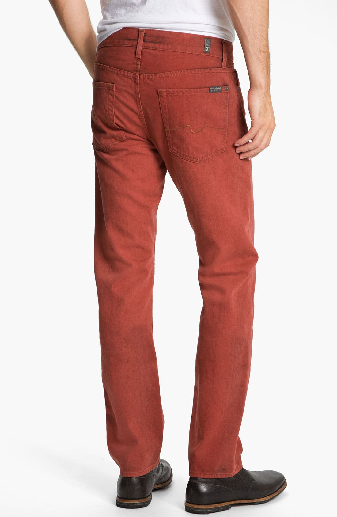 Alternate Image 1 Selected - 7 For All Mankind® 'Slimmy' Slim Straight Leg Jeans (Spicy Red)