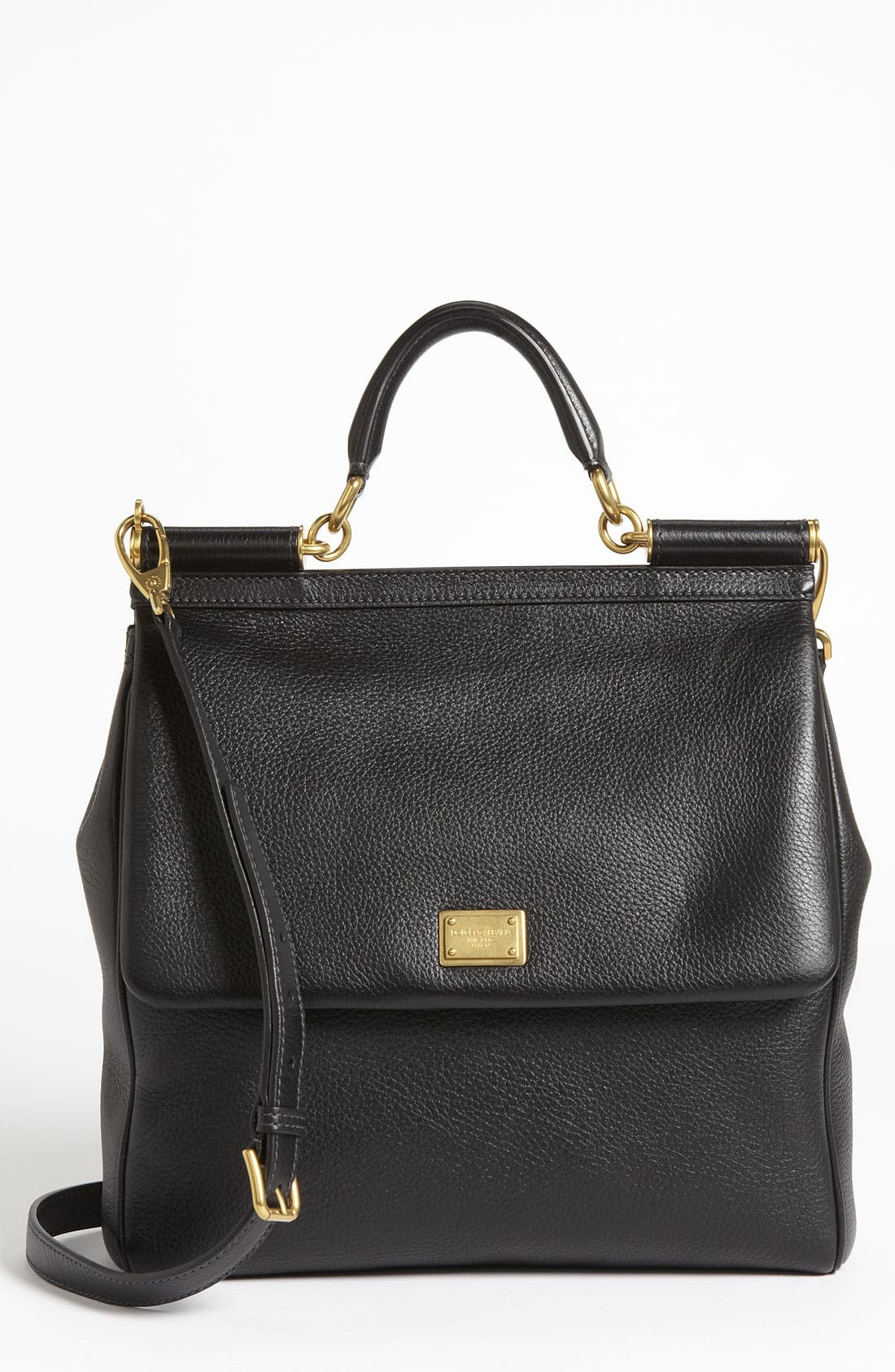 Alternate Image 1 Selected - Dolce&Gabbana 'Flat Miss Sicily - Large' Leather Satchel