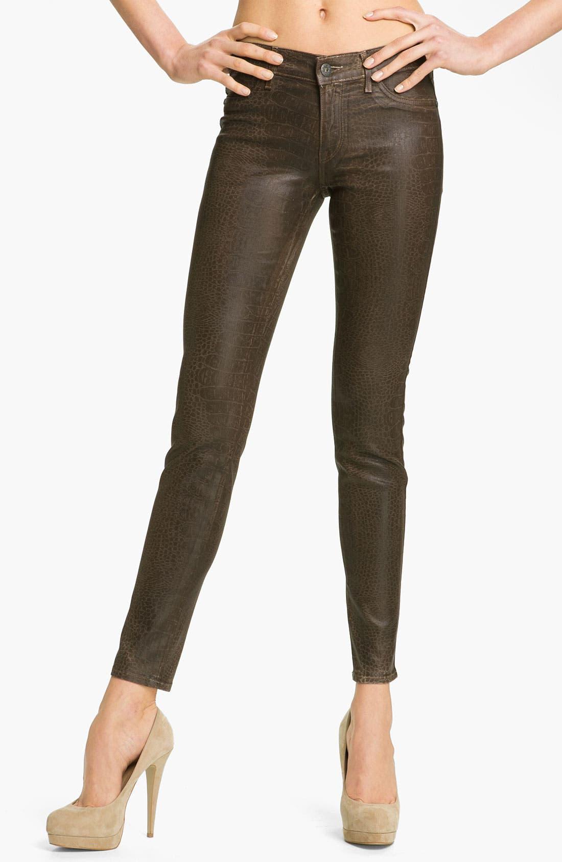 Main Image - Rich & Skinny 'Legacy' Coated Skinny Jeans (Marsh Croc)