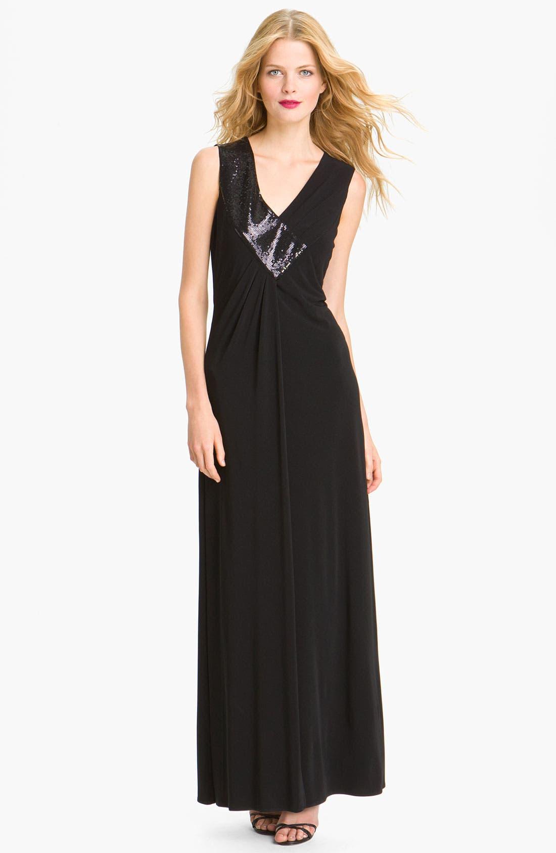 Main Image - Calvin Klein Sequin Trim V-Neck Jersey Gown