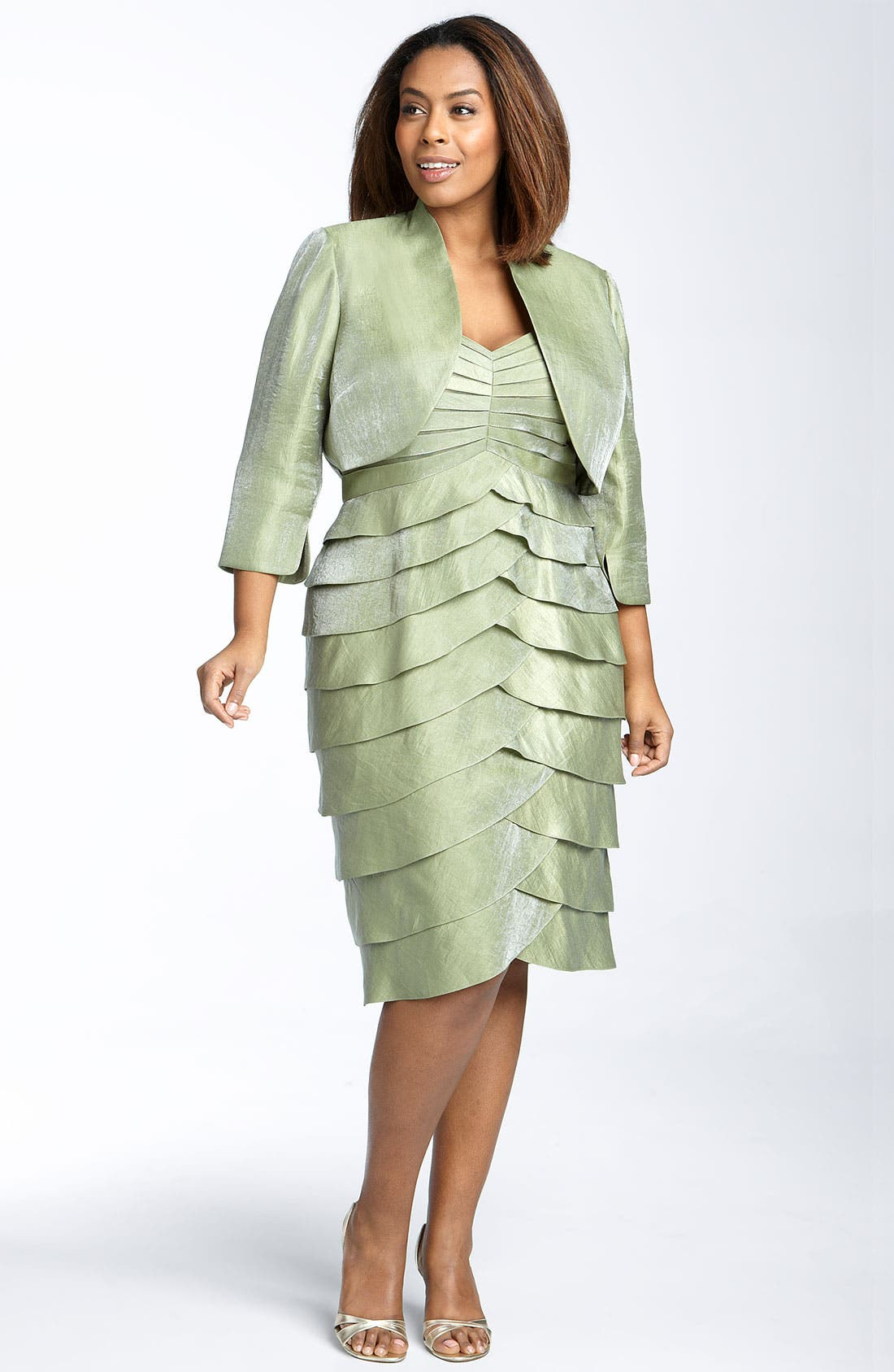 Main Image - Adrianna Papell Evening Shutter Pleat Dress with Bolero Jacket (Plus)