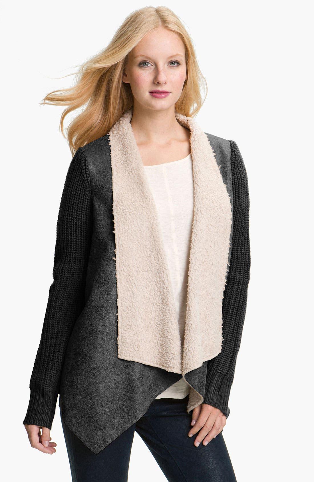 Main Image - Press Faux Shearling & Knit Jacket