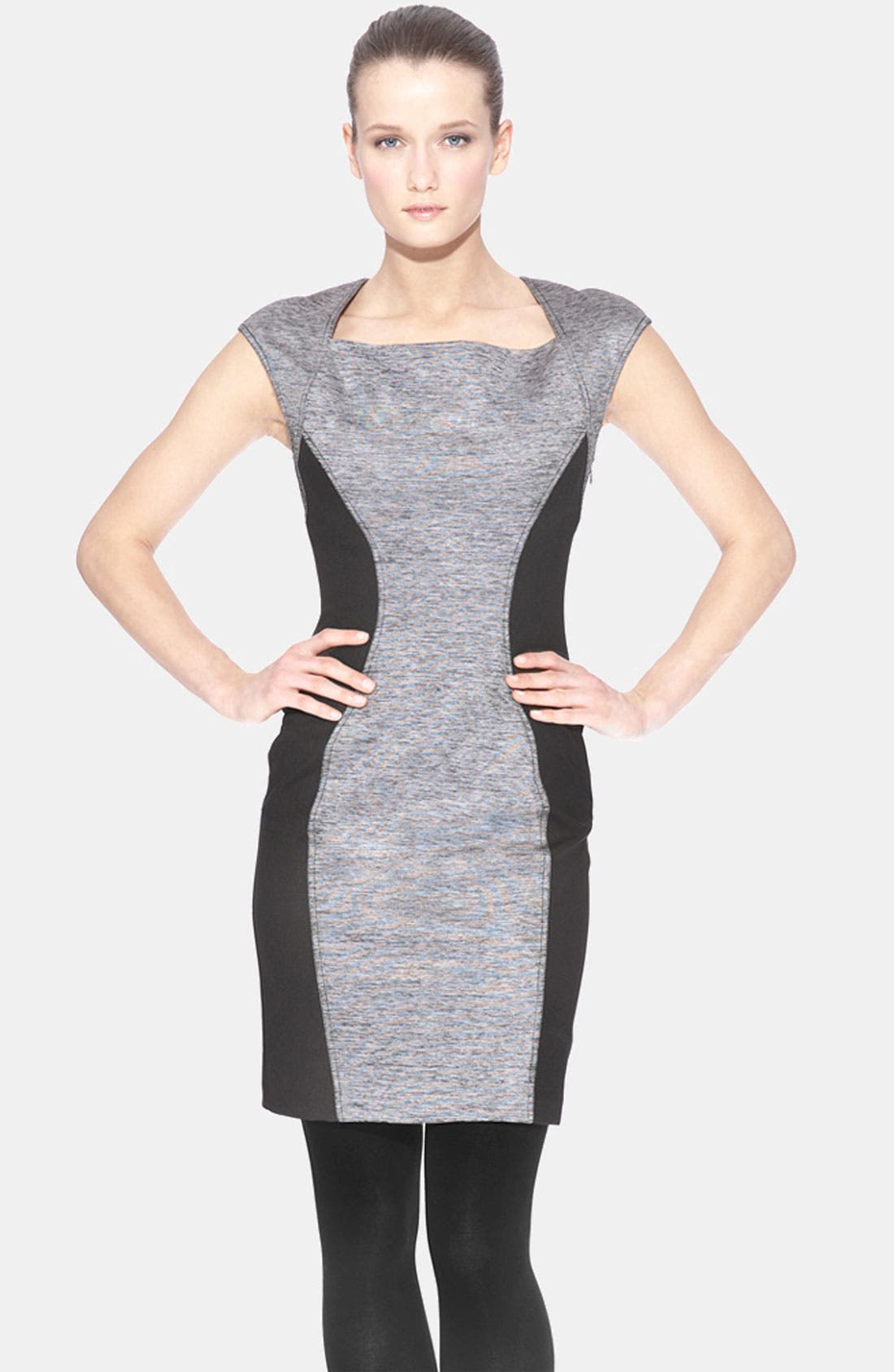 Alternate Image 1 Selected - Marc New York Contrast Inset Mixed Media Sheath Dress