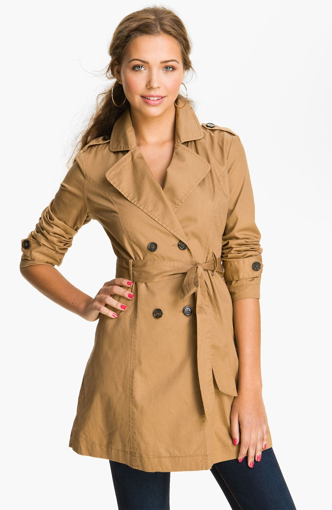 Main Image - Tulle Twill Trench Coat (Juniors)