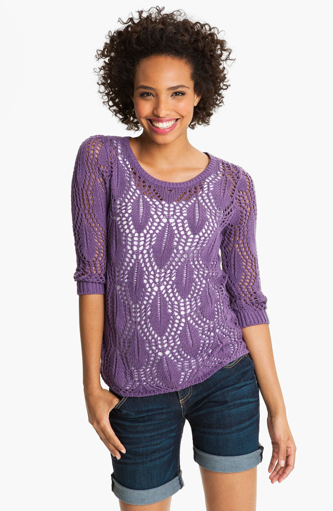 Alternate Image 1 Selected - Caslon® Pointelle Crewneck Sweater