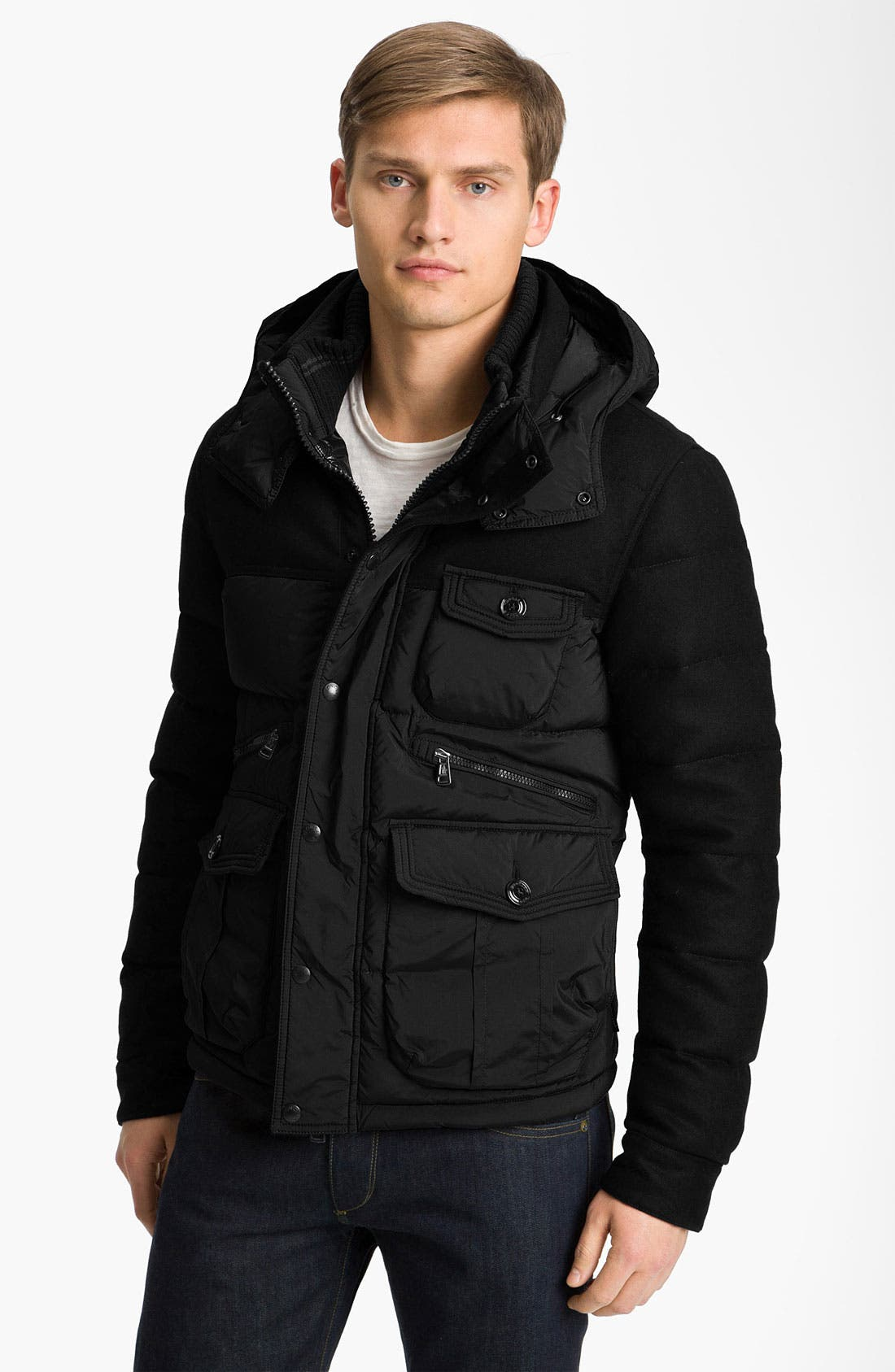 Main Image - Moncler Mixed Media Quilted Bomber Jacket
