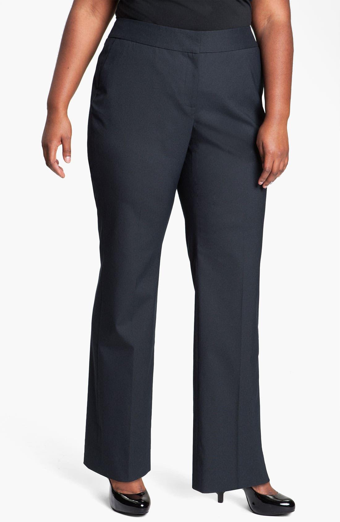Alternate Image 1 Selected - Sejour Pinstripe Suit Trousers (Plus)