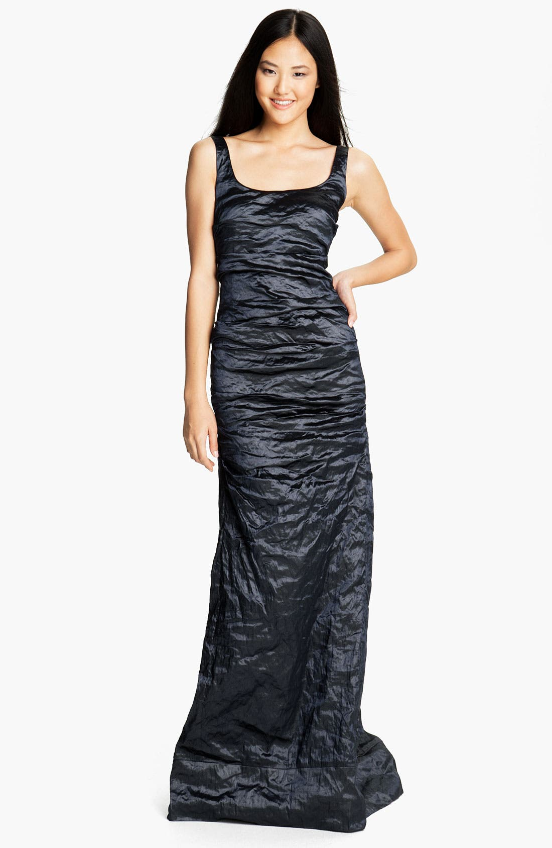 Alternate Image 1 Selected - Nicole Miller Metallic Textured Taffeta Gown