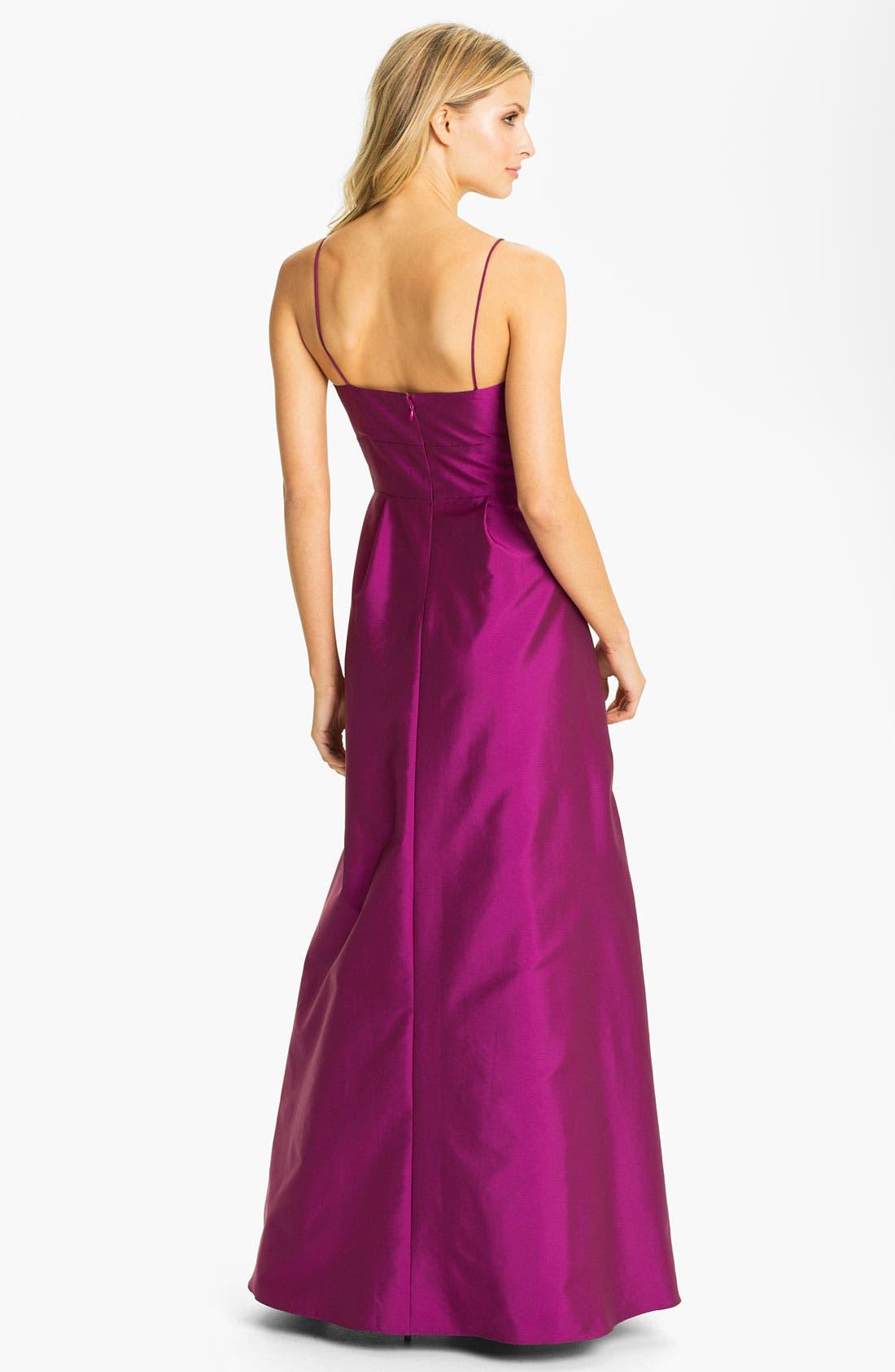 Alternate Image 2  - Eliza J Spaghetti Strap Faille A-Line Gown