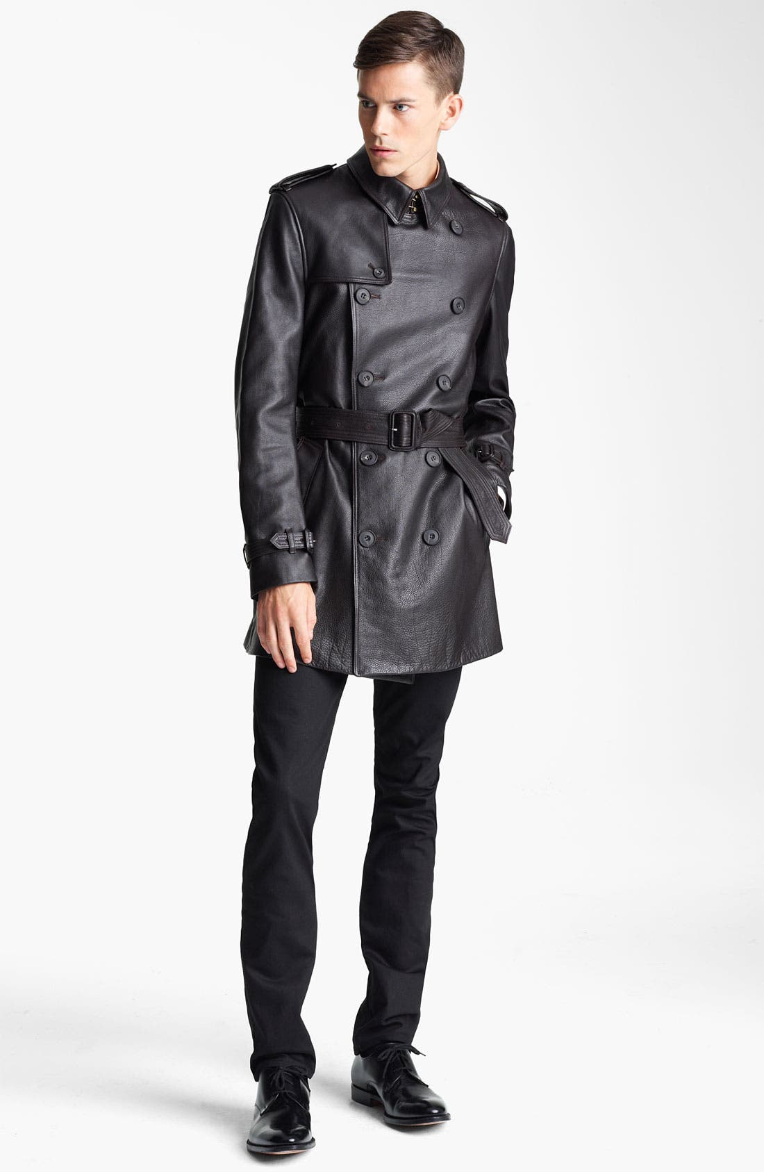 Alternate Image 3  - Burberry London Belted Leather Trench Coat