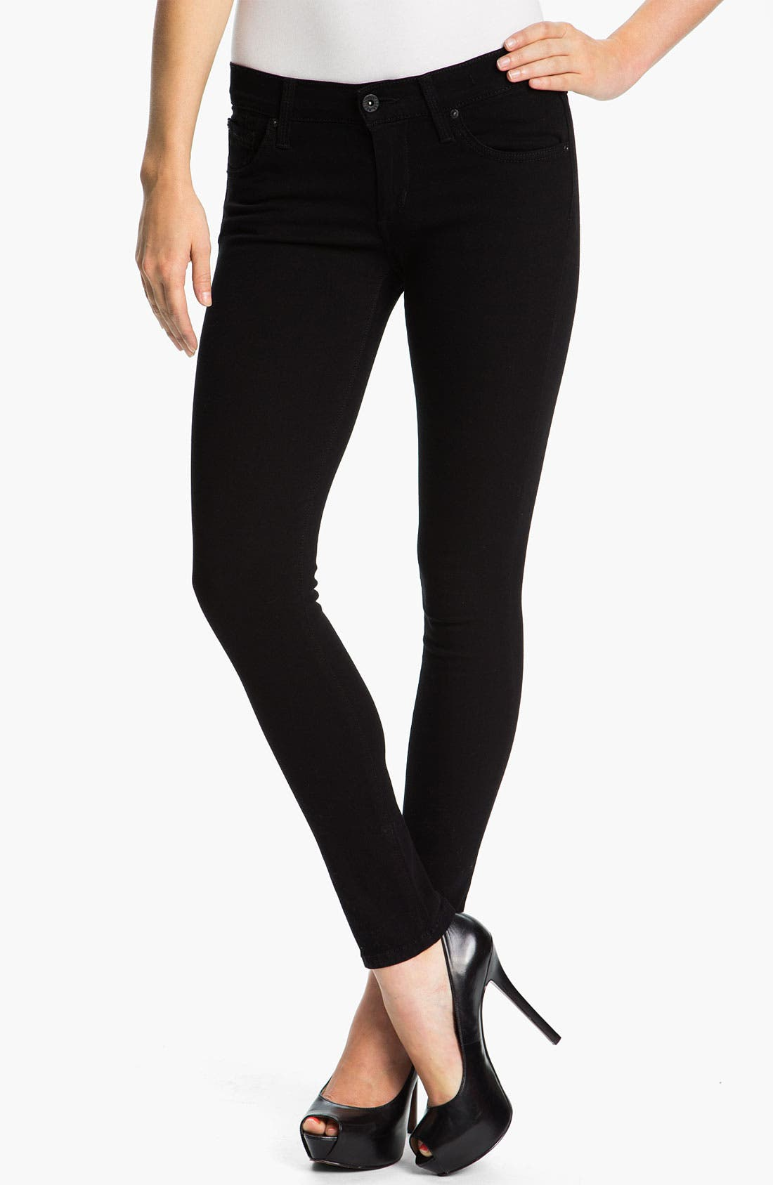 Alternate Image 1 Selected - James Jeans 'Ritchie' Slim Jeans (Black Clean) (Petite) (Online Exclusive)