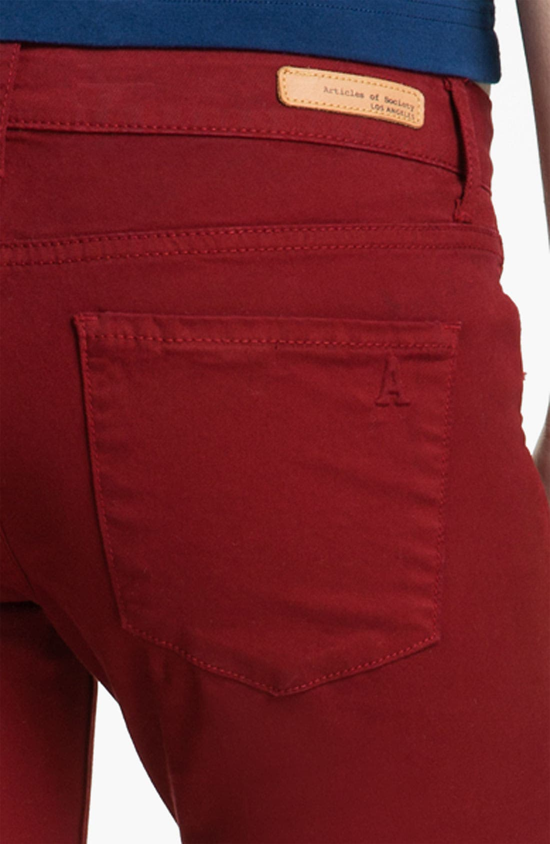 Alternate Image 3  - Articles of Society 'Mya' Skinny Jeans (Scarlet) (Juniors)
