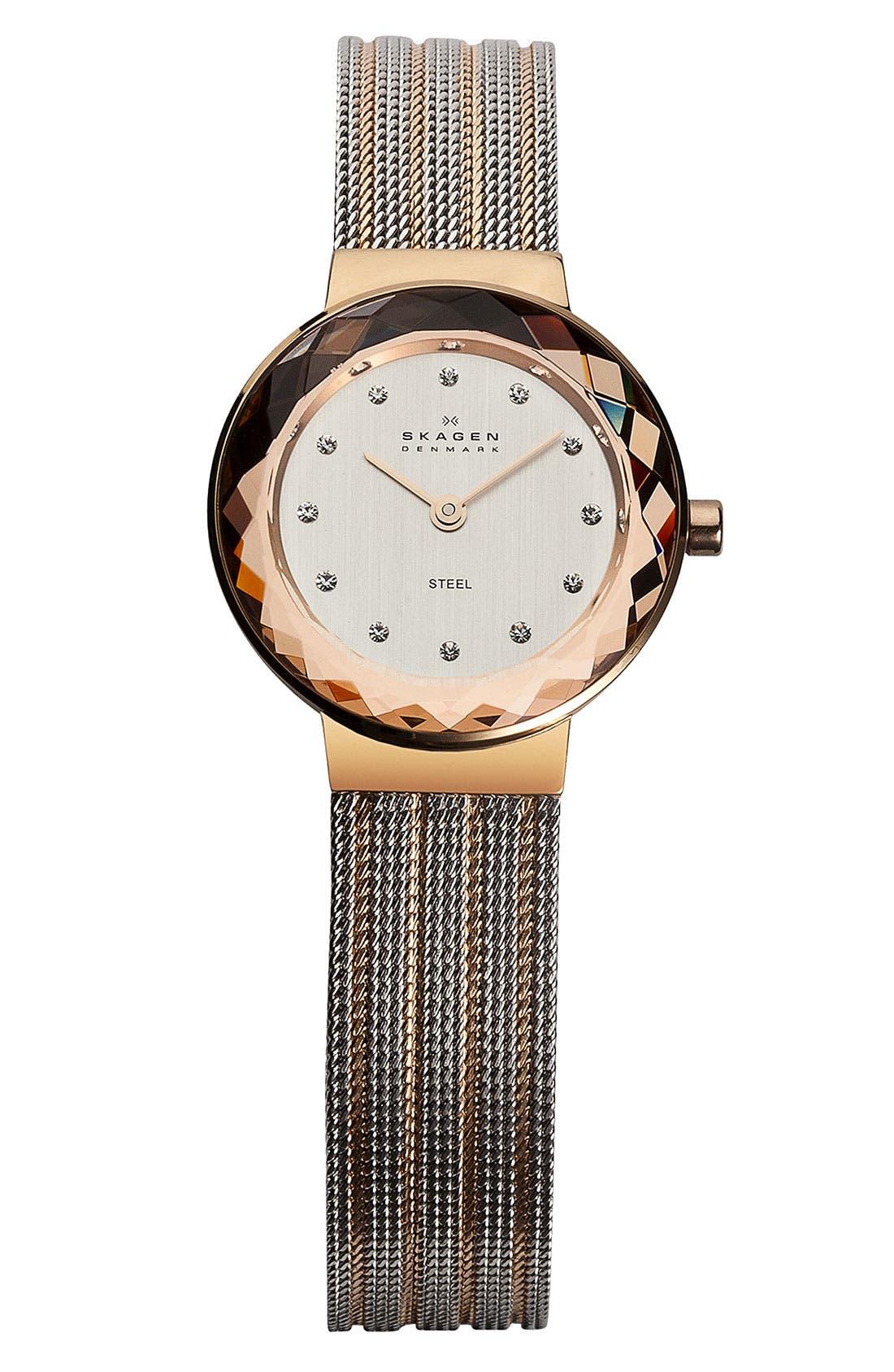 Main Image - Skagen Round Striped Mesh Strap Watch