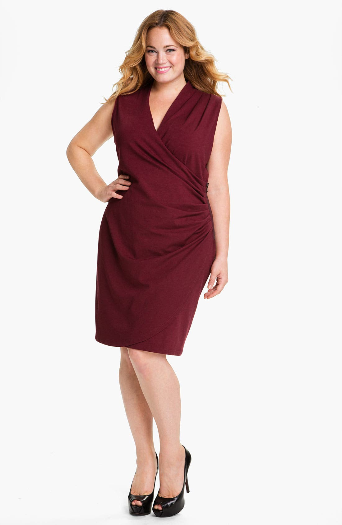 Alternate Image 1 Selected - Kenneth Cole New York 'Lindsey' Sleeveless Ponte Knit Sheath Dress (Plus)