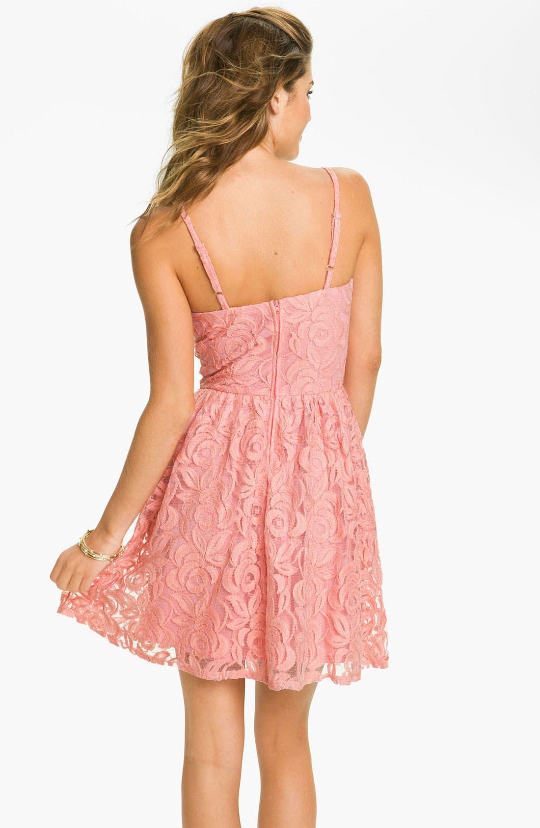 Alternate Image 2  - Fire Lace Dress (Juniors)