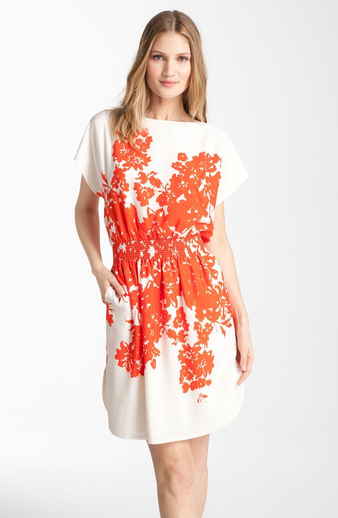 Main Image - Eliza J Floral Print Crêpe de Chine Dress (Petite)