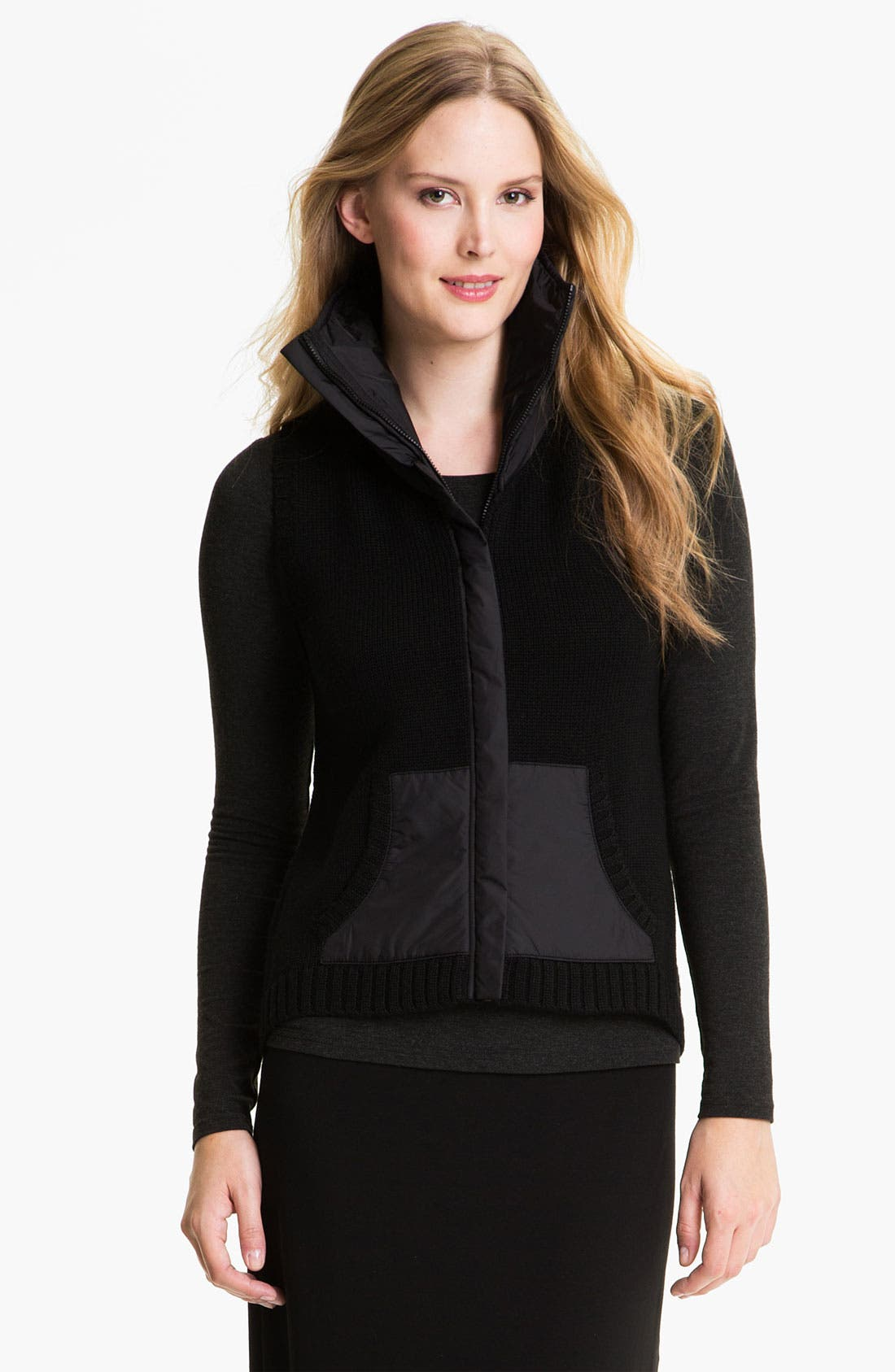 Main Image - Eileen Fisher Parka Trim Wool Vest