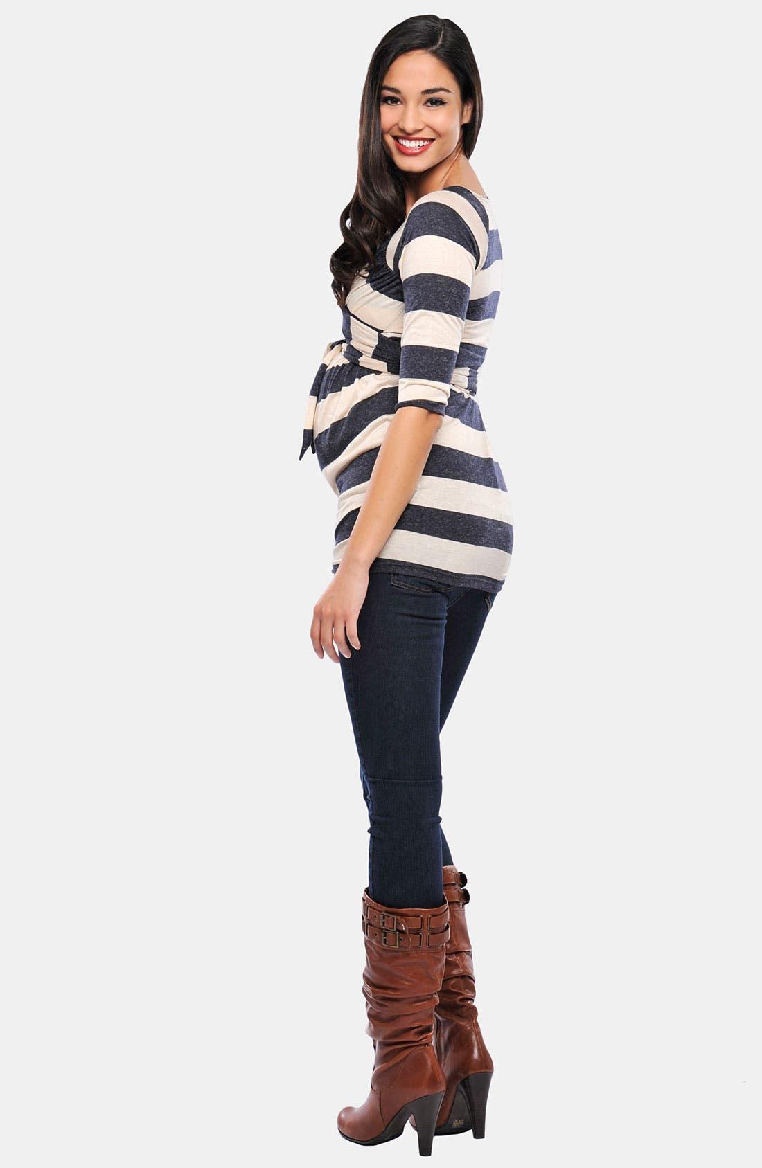 Alternate Image 2  - Olian 'Kayla' Maternity Cross Front Stripe Tunic