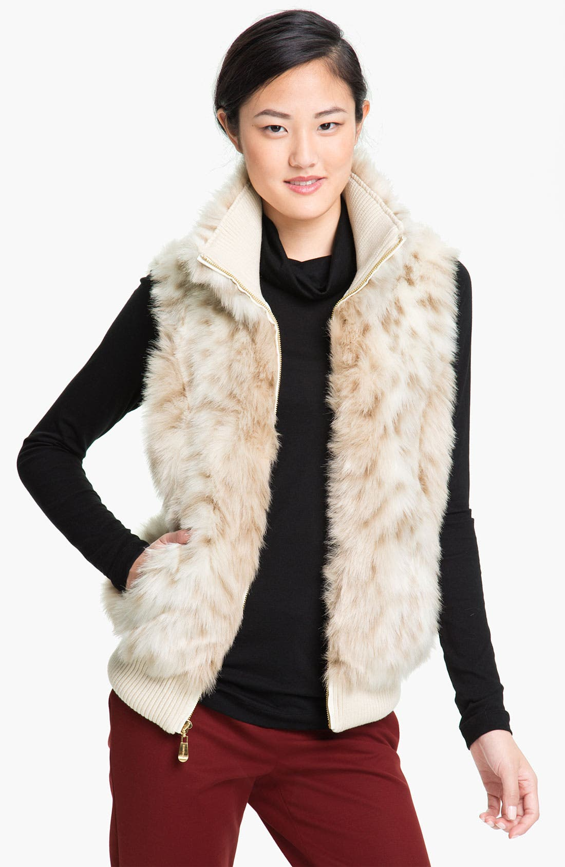 Main Image - Ellen Tracy Faux Snow Leopard Vest