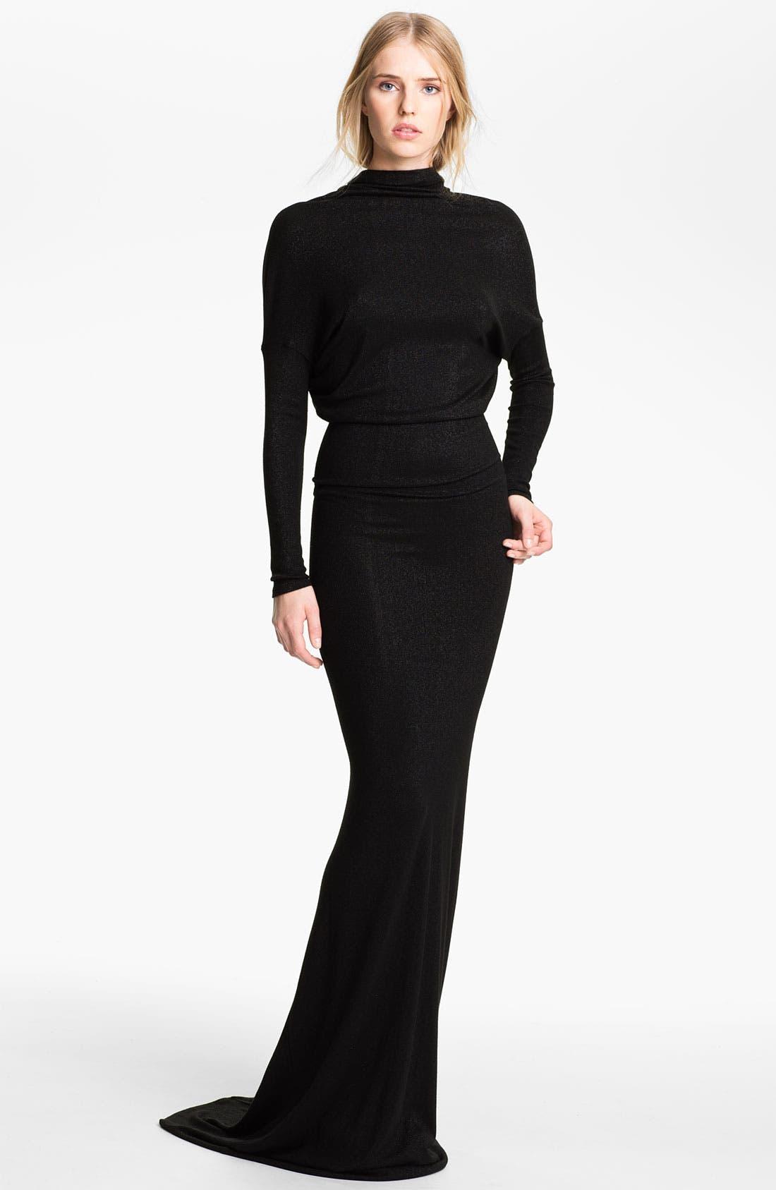 Main Image - L'AGENCE Drape Back Lamé Knit Gown