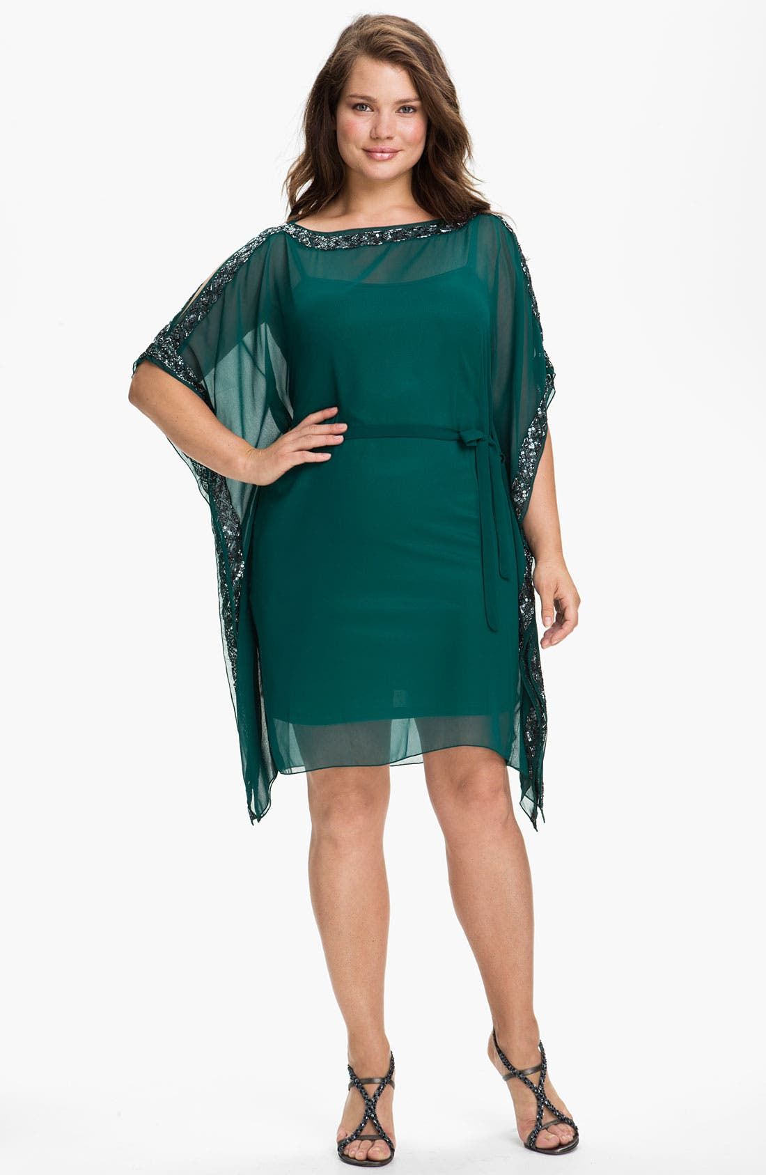 Main Image - Aidan Mattox Beaded Kimono Sleeve Chiffon Dress (Plus)