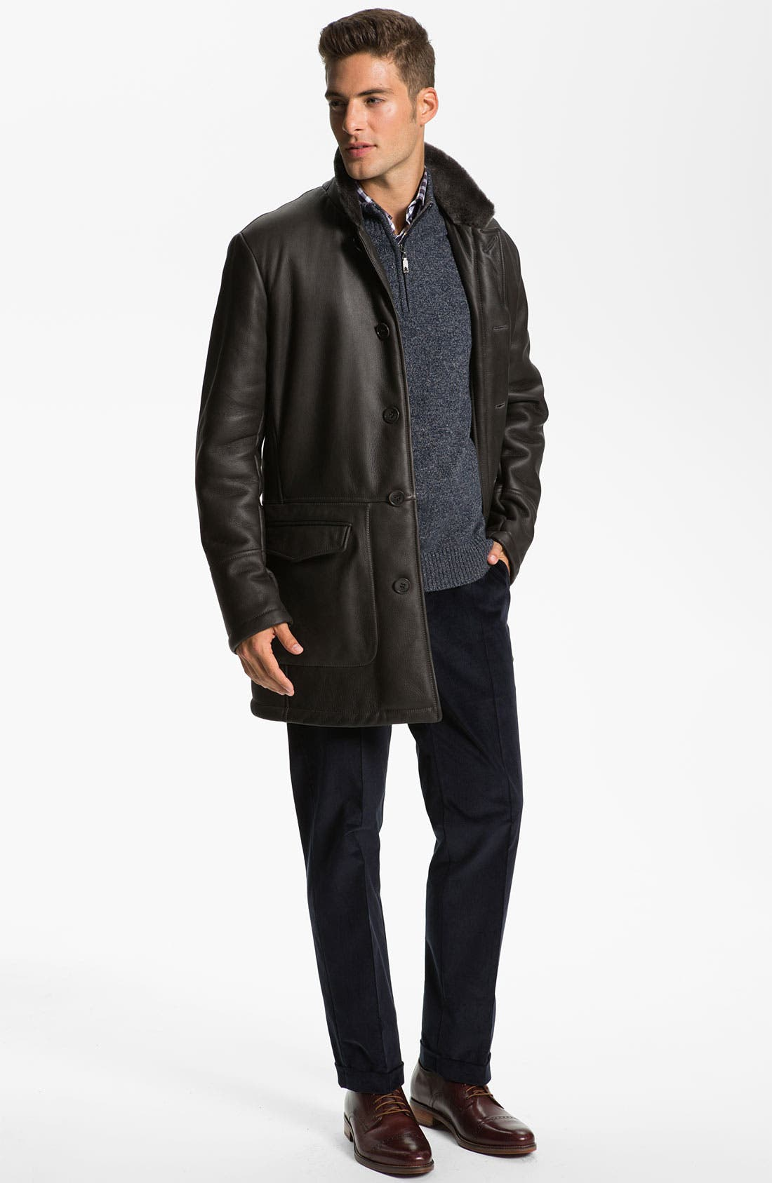 Alternate Image 4  - Canali Shearling-Lined Leather Coat