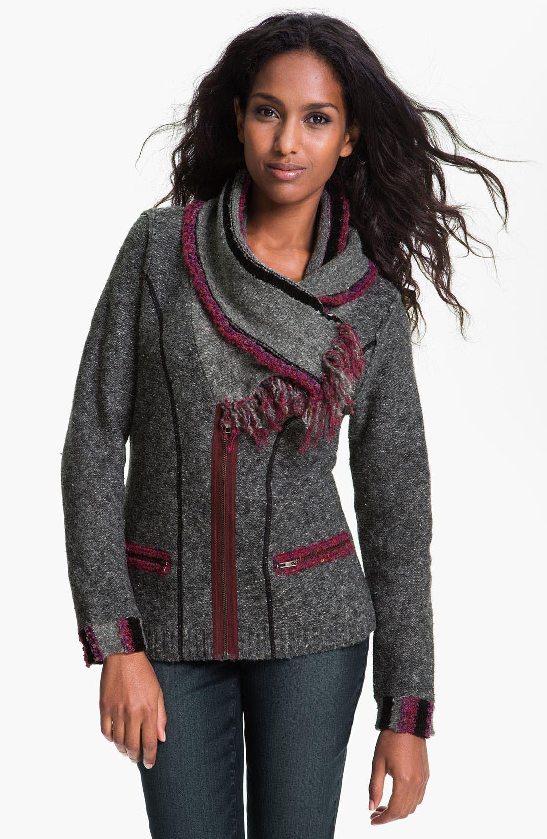Alternate Image 1 Selected - Curio 'Very Berry' Scarf Jacket