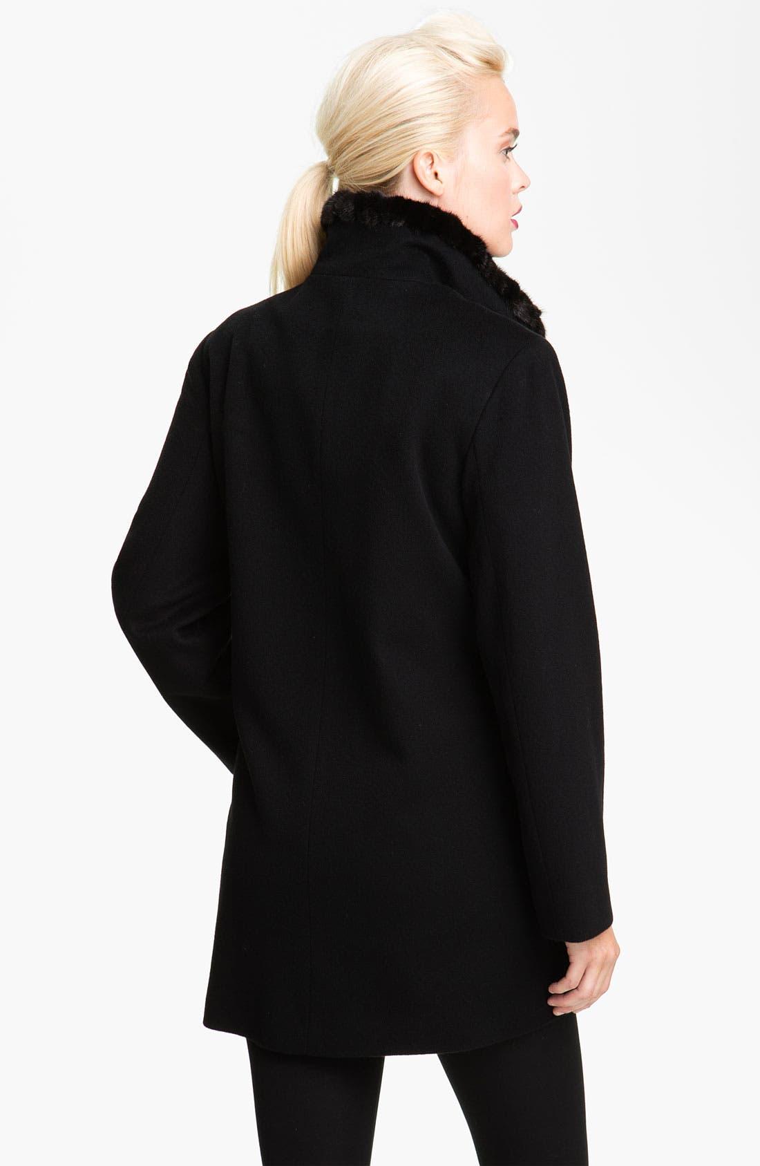 Alternate Image 2  - Fleurette Genuine Mink Fur Trim Walking Coat (Petite)