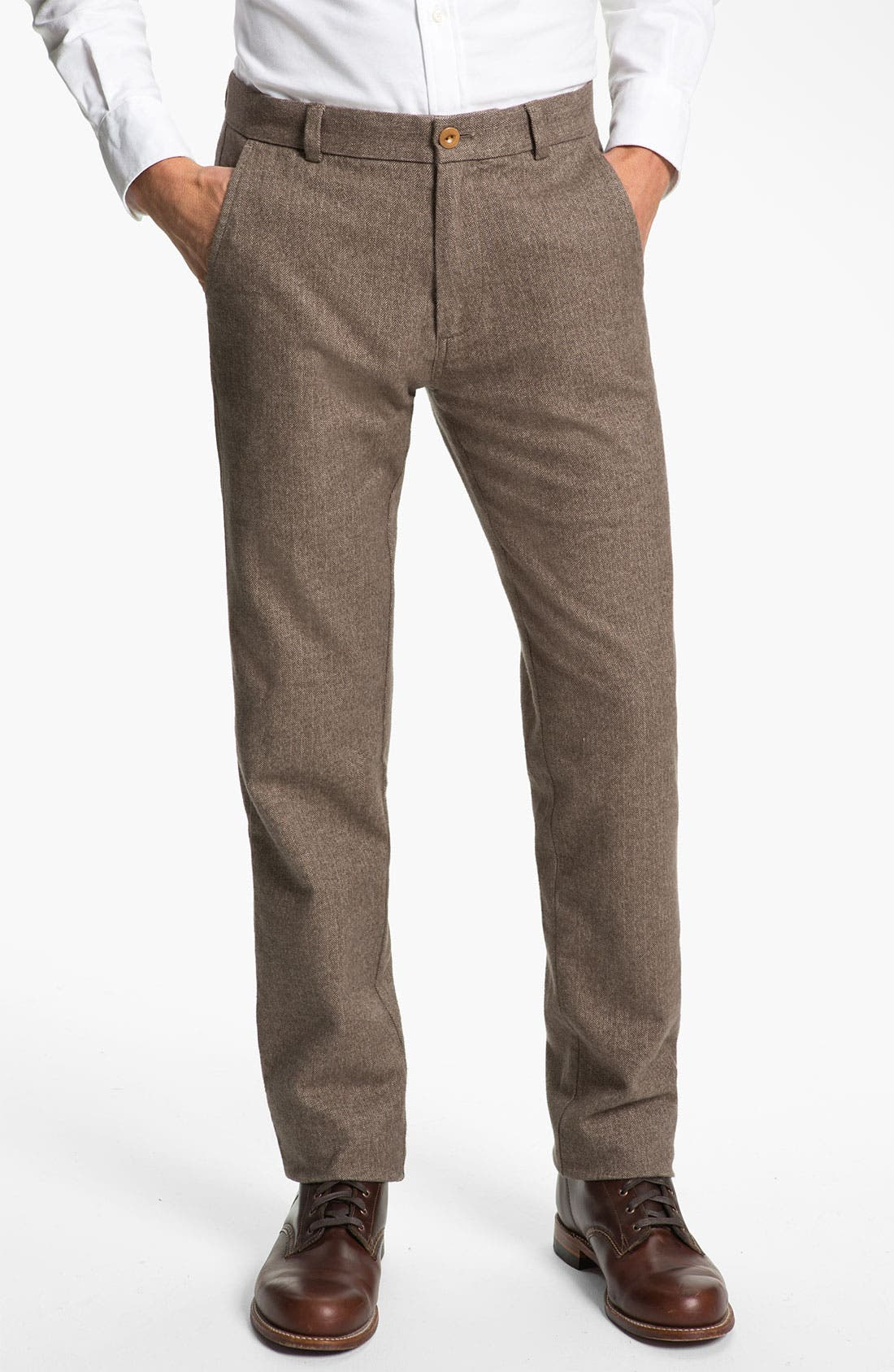 Alternate Image 1 Selected - Brooks Brothers Flat Front Herringbone Pants