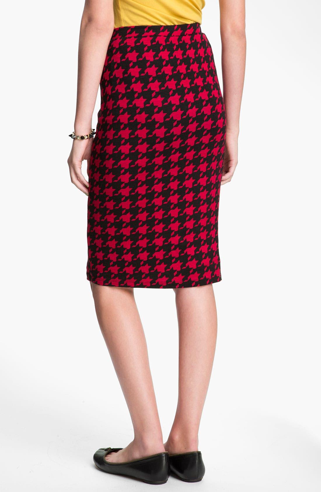 Alternate Image 2  - h.i.p Houndstooth Midi Pencil Skirt (Juniors)