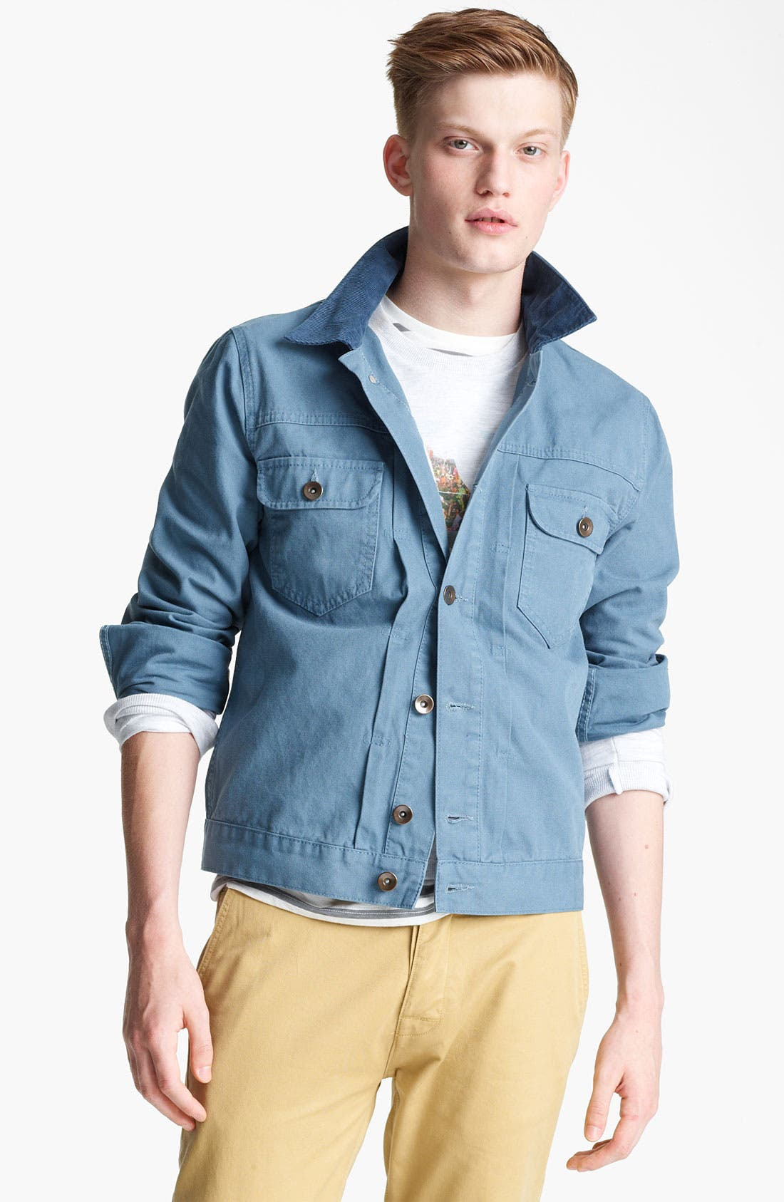 Main Image - Topman Corduroy Collar Denim Jacket