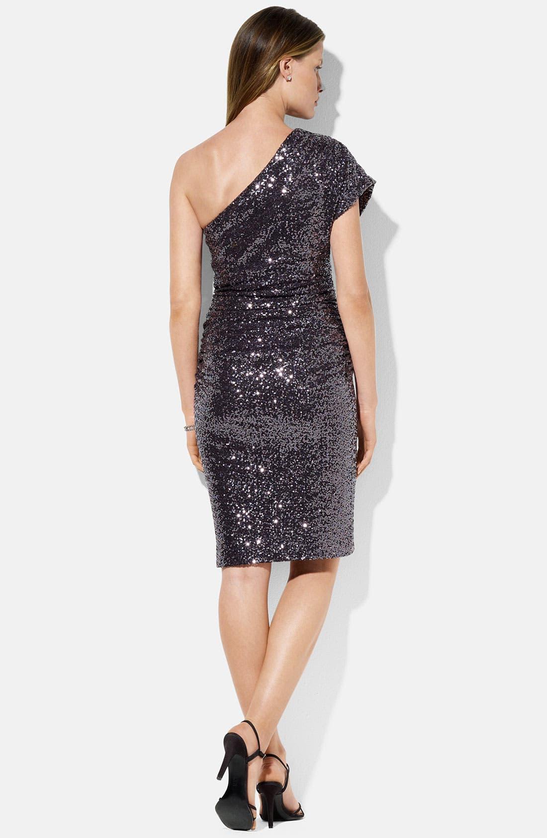 Alternate Image 2  - Lauren Ralph Lauren One Shoulder Jersey Gown